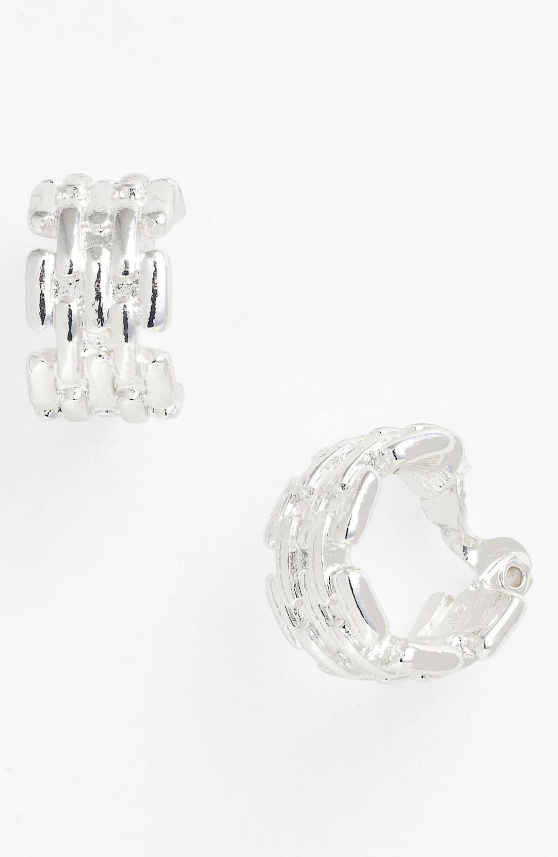 Alternate Image 1 Selected - Anne Klein Wide Hoop Clip Earrings