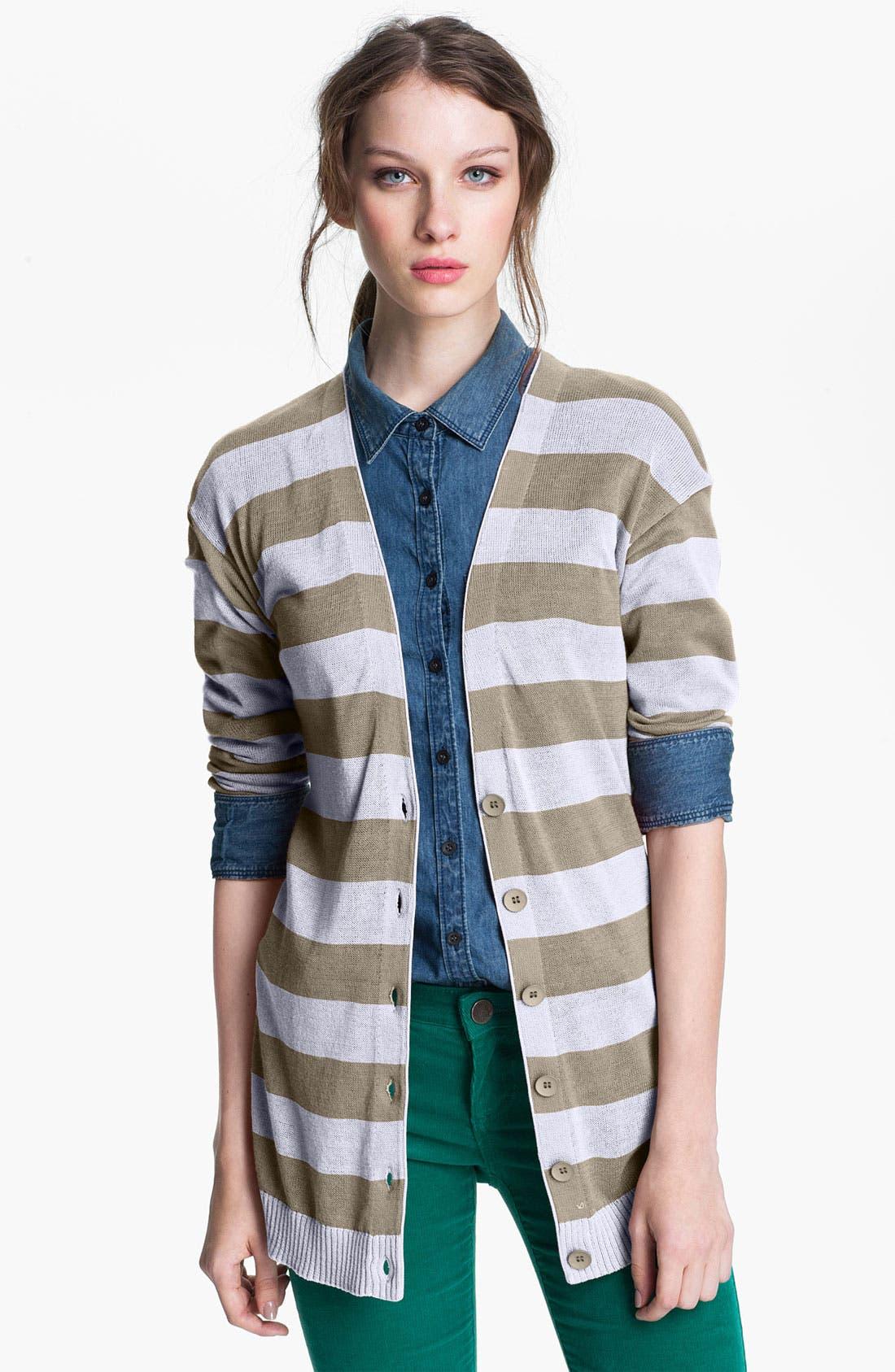 Main Image - Caslon® Stripe V-Neck Cardigan
