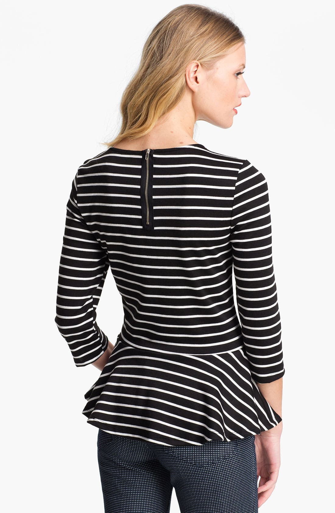 Alternate Image 2  - Bobeau Stripe Peplum Top