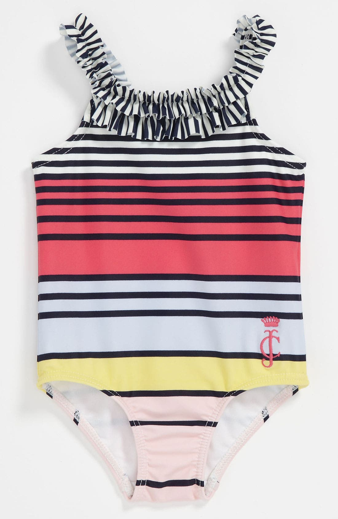 Main Image - Juicy Couture Stripe Swimsuit (Infant)