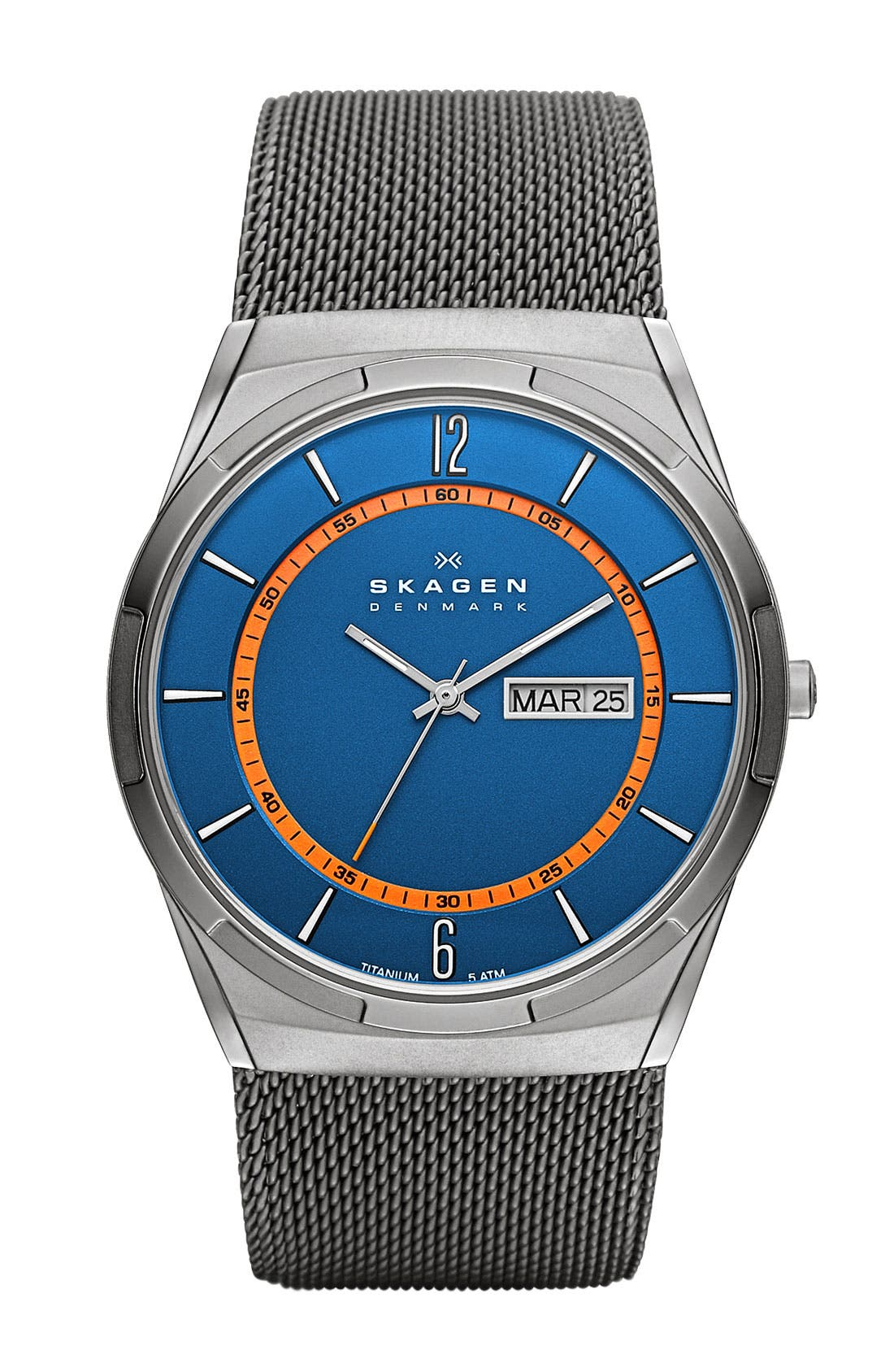 Alternate Image 1 Selected - Skagen 'Melbye' Round Mesh Strap Watch, 40mm