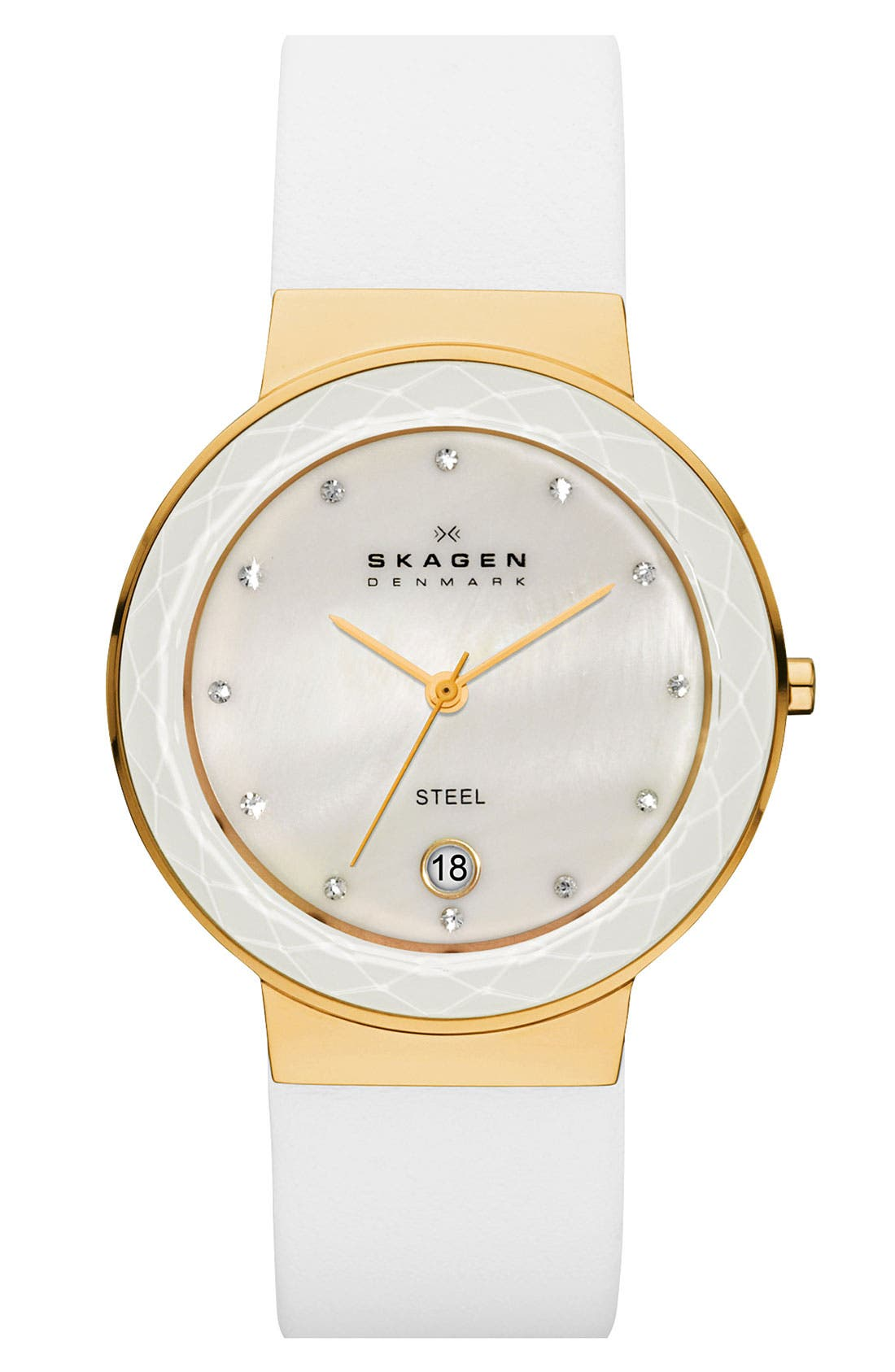 Alternate Image 1 Selected - Skagen 'Leonora' Large Faceted Glass Bezel Watch, 34mm