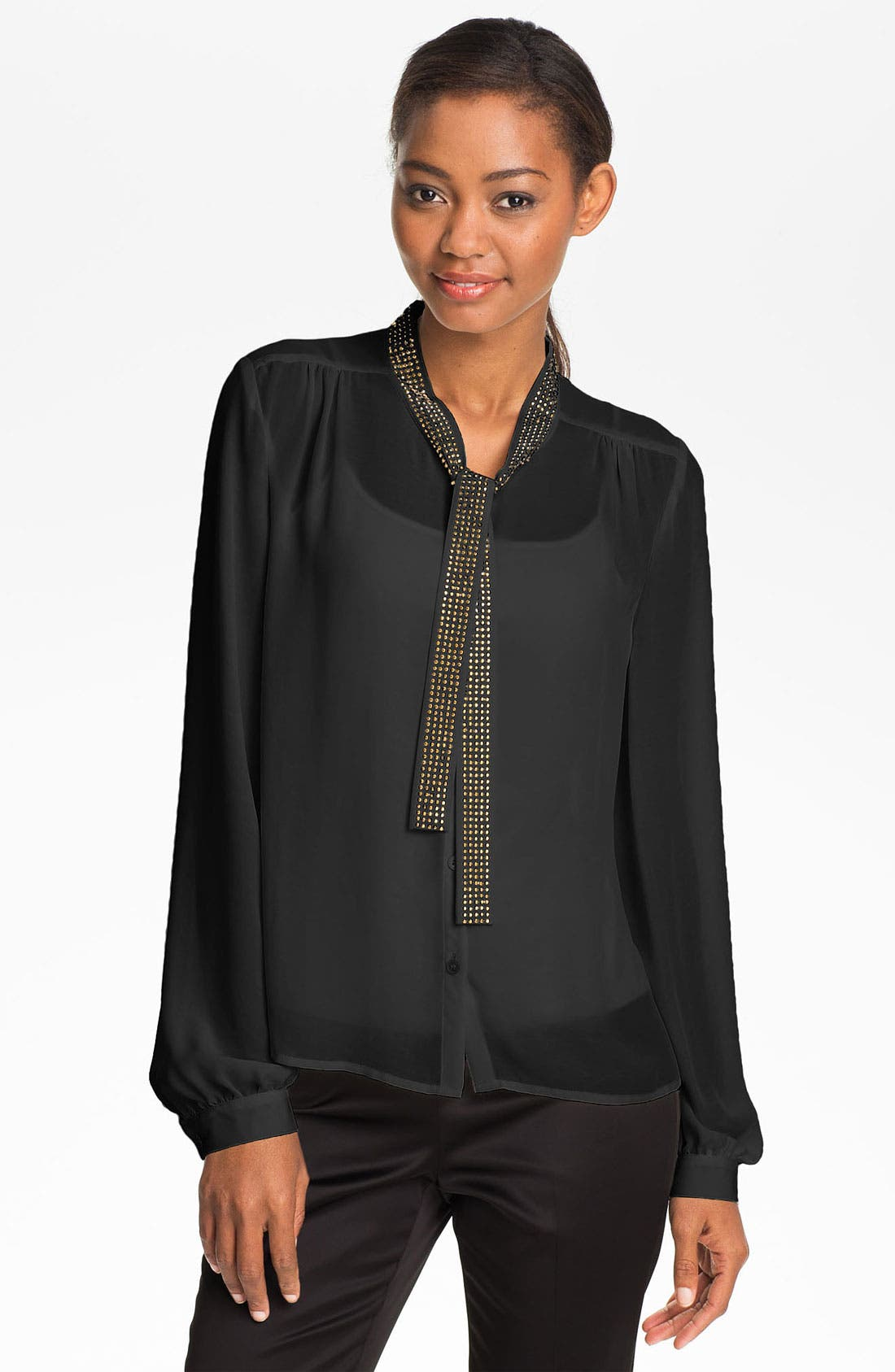 Alternate Image 1 Selected - Vince Camuto Studded Tie Front Blouse