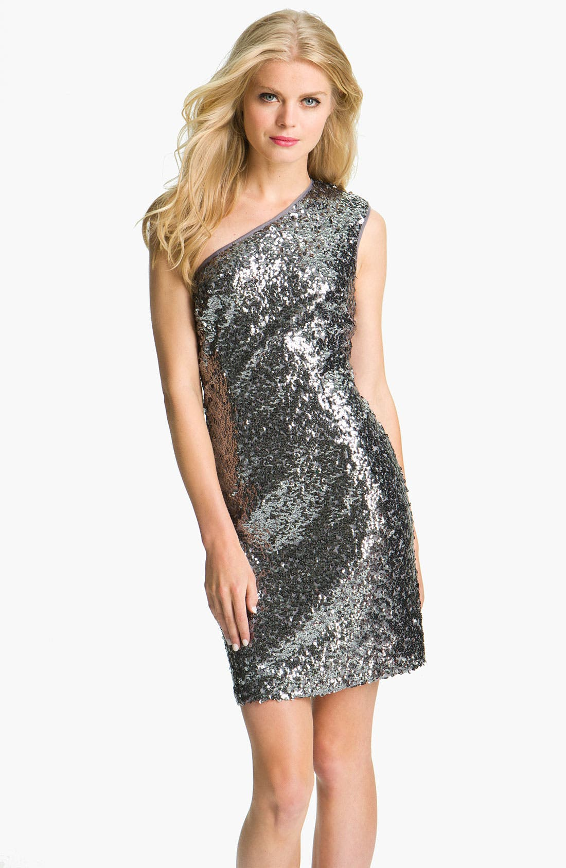 Alternate Image 1 Selected - Adrianna Papell One Shoulder Sequin Dress (Petite)