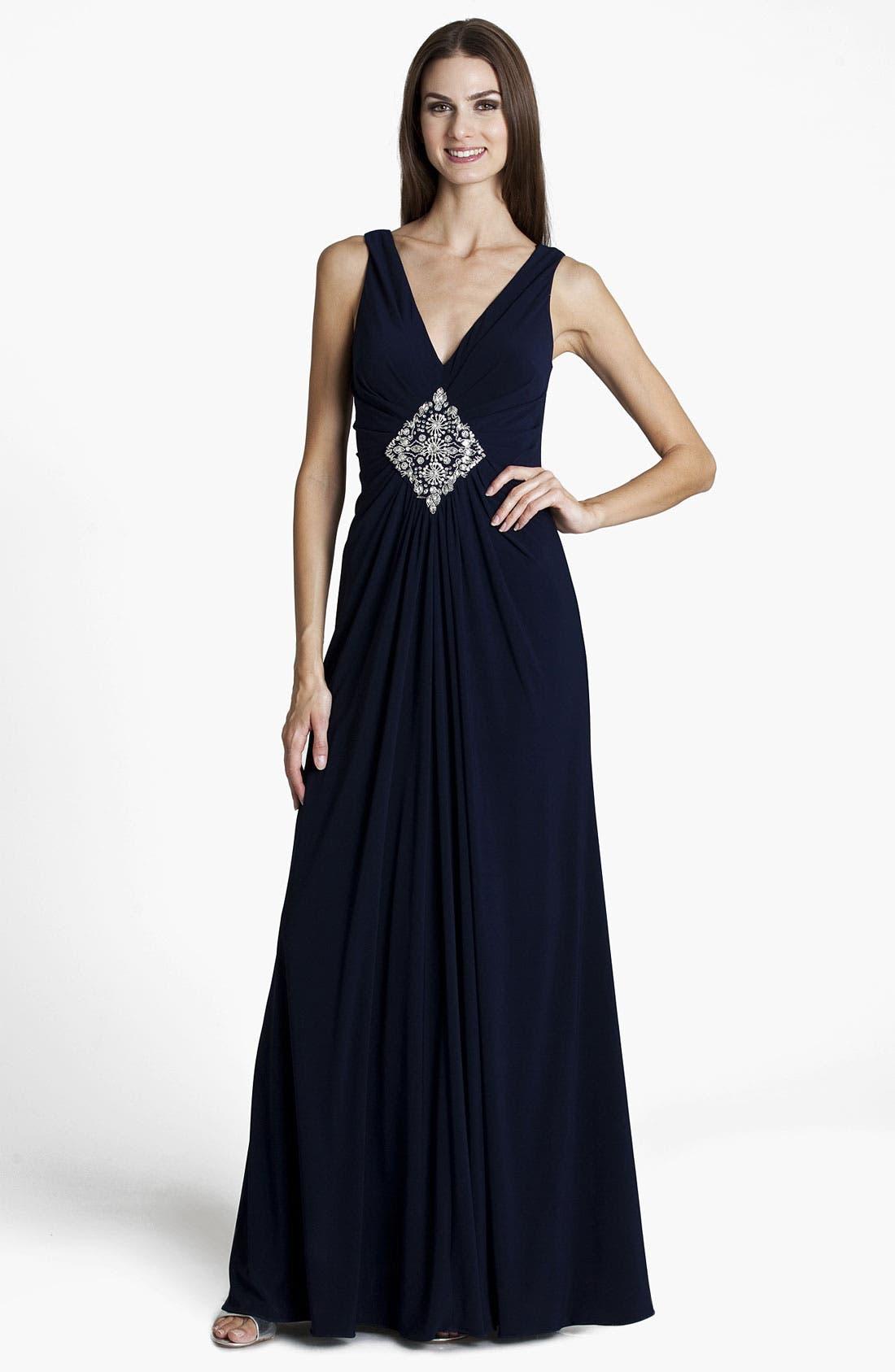 Alternate Image 1 Selected - JS Boutique Embellished V-Neck Gown