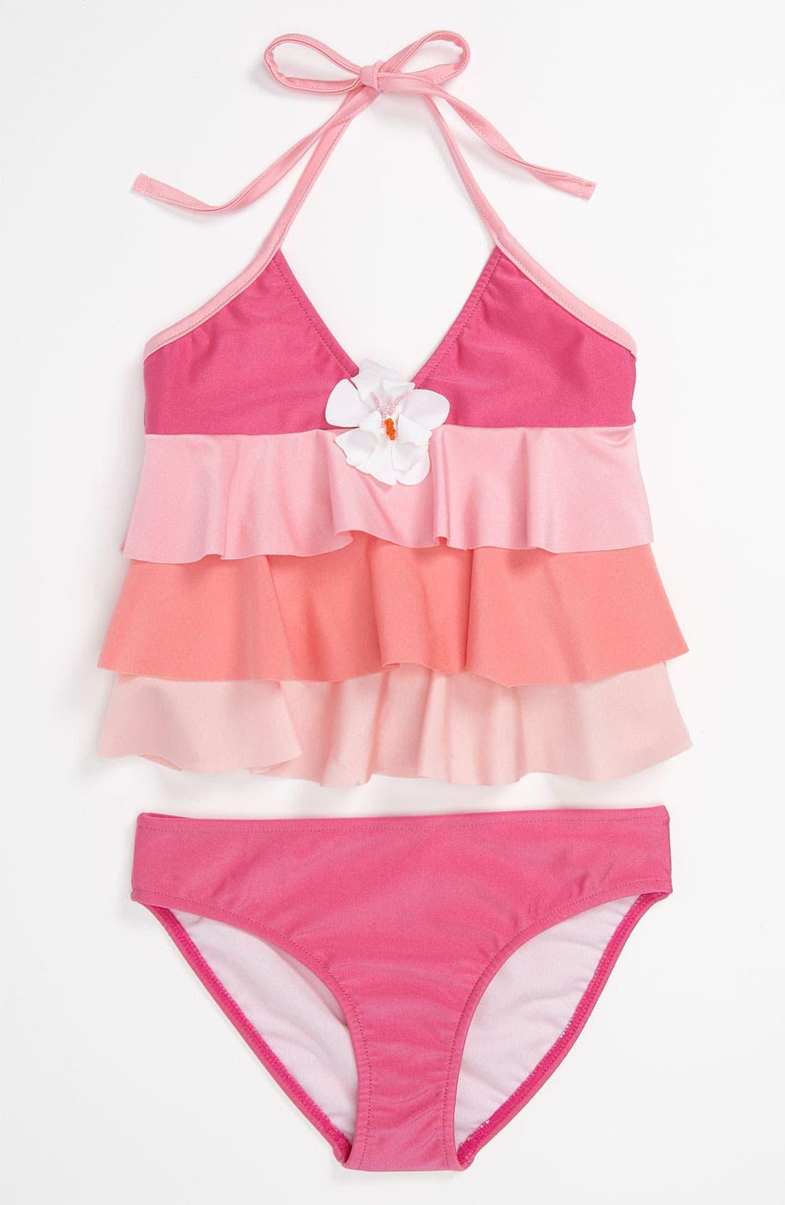 Alternate Image 1 Selected - Love U Lots Two Piece Swimsuit (Little Girls)