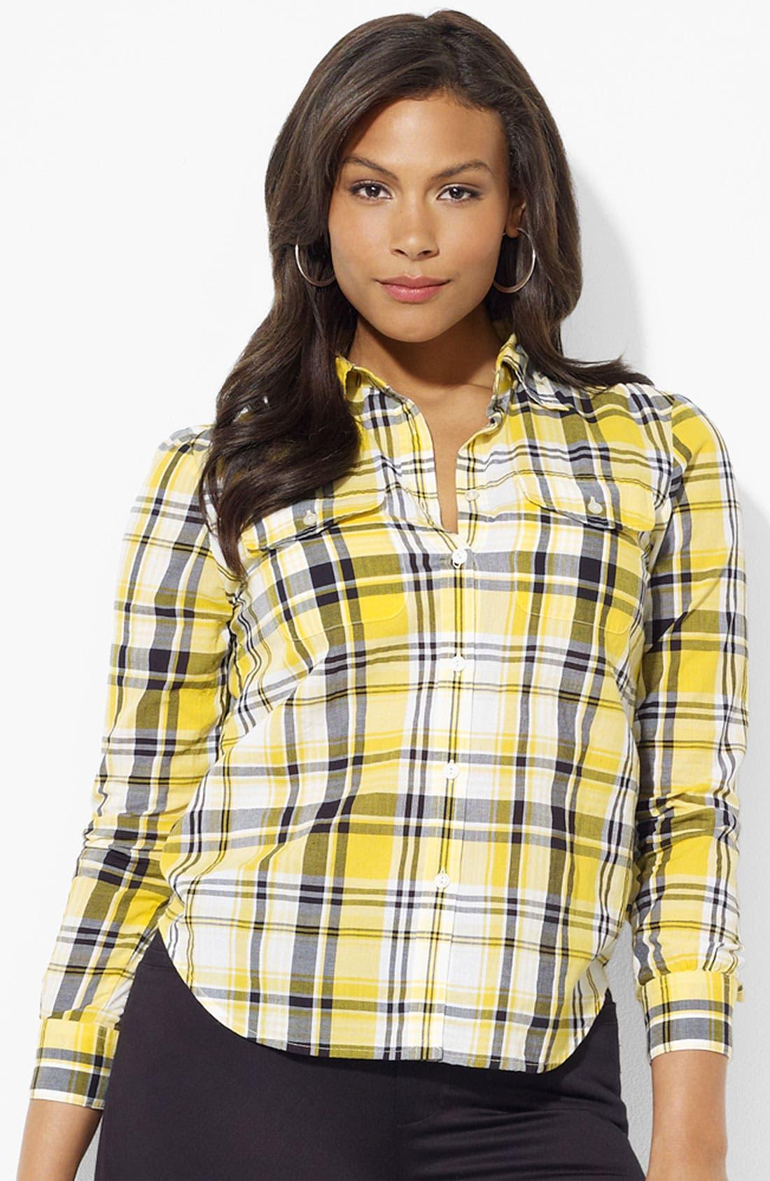 Alternate Image 1 Selected - Lauren Ralph Lauren Plaid Shirt (Plus)