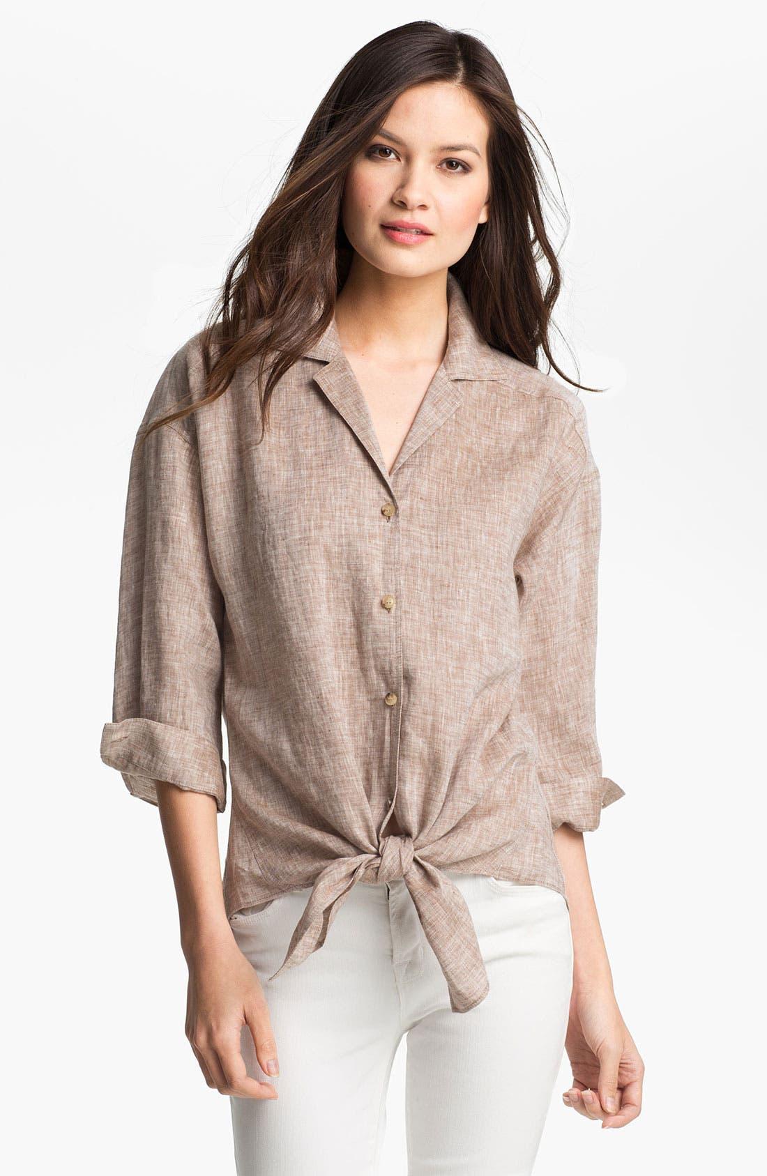 Alternate Image 1 Selected - Lafayette 148 New York 'Lush' Cross Dye Linen Shirt