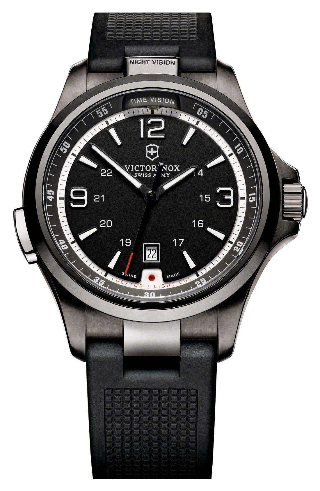 Alternate Image 1 Selected - Victorinox Swiss Army® 'Night Vision' Rubber Strap Watch, 42mm