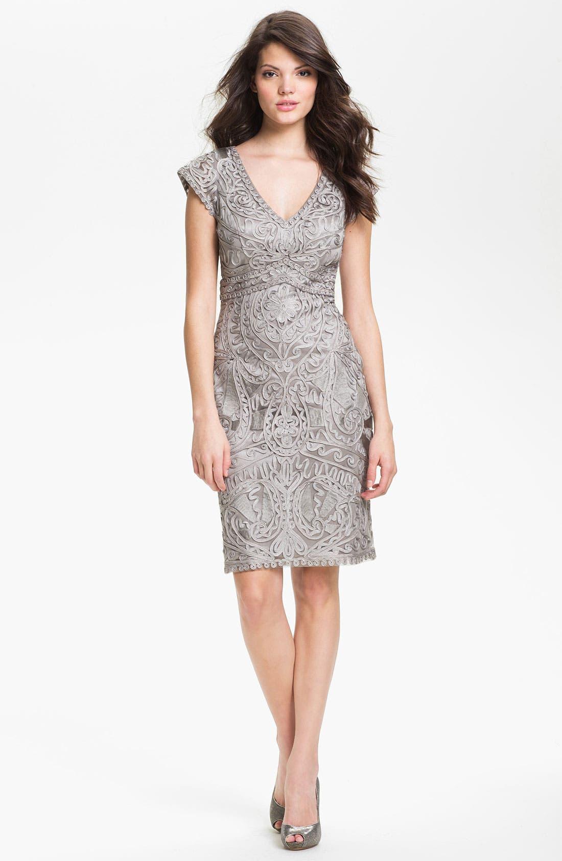 Alternate Image 3  - Sue Wong Embroidered V-Neck Sheath Dress
