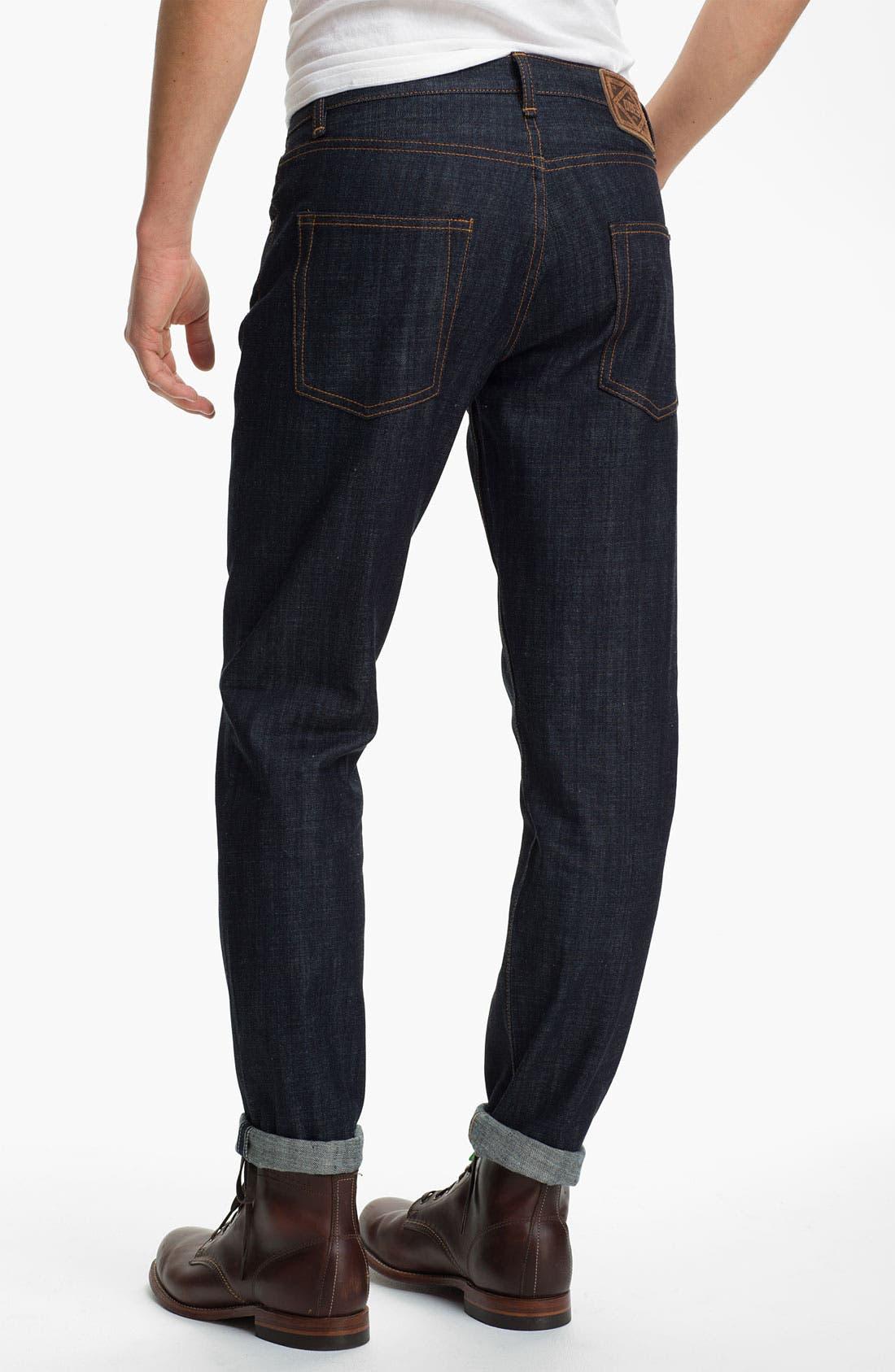 Alternate Image 1 Selected - Obey 'Standard Issue' Slim Straight Leg Jeans (Raw Indigo)