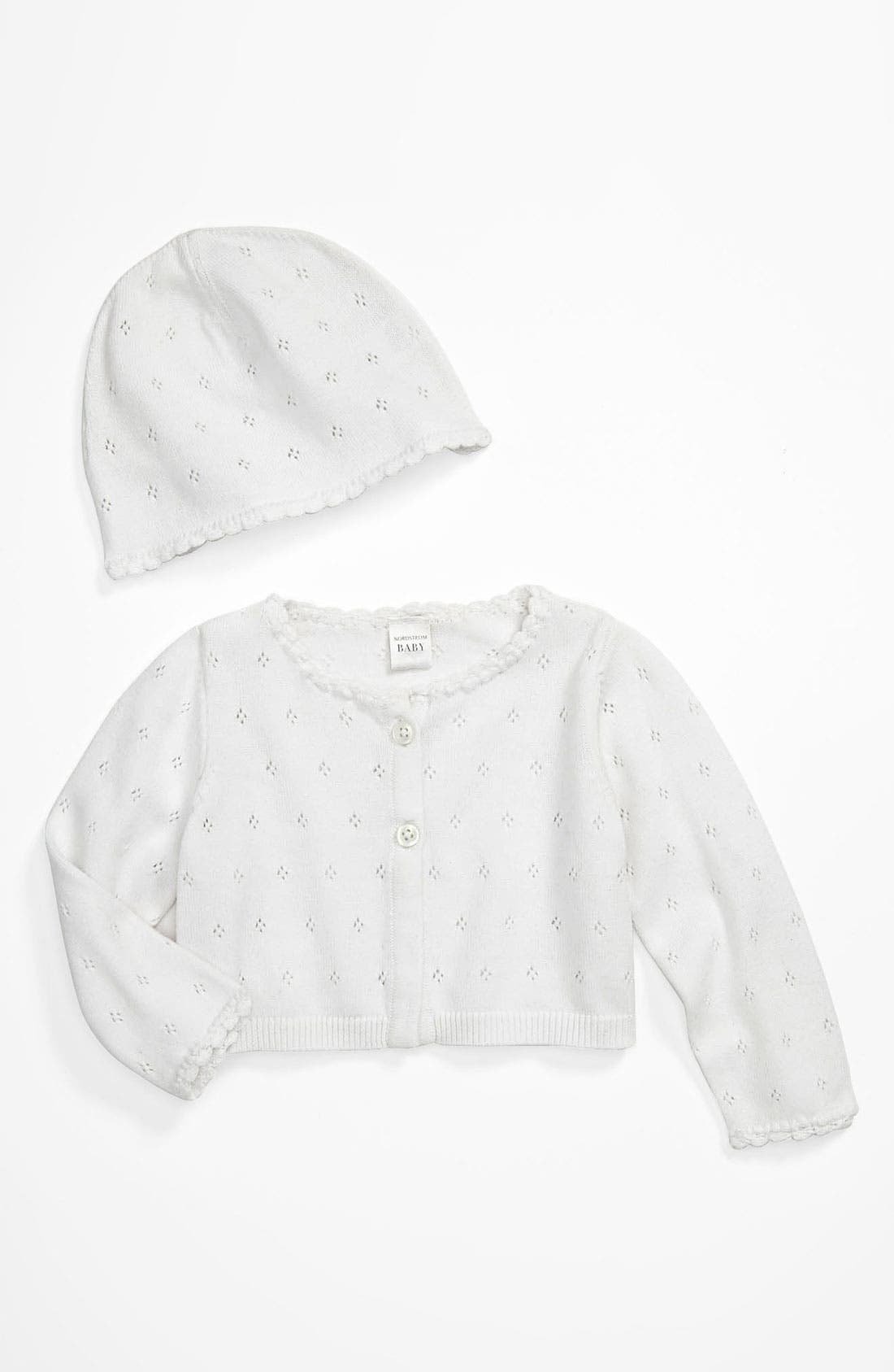 Main Image - Nordstrom Baby 'Sweet Pointelle' Cardigan & Hat (Infant)