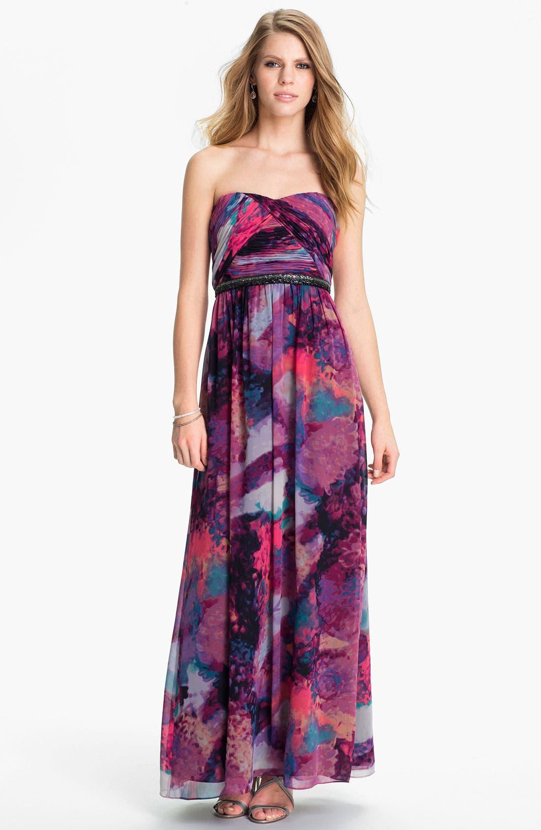 Main Image - Calvin Klein Embellished Print Chiffon Gown
