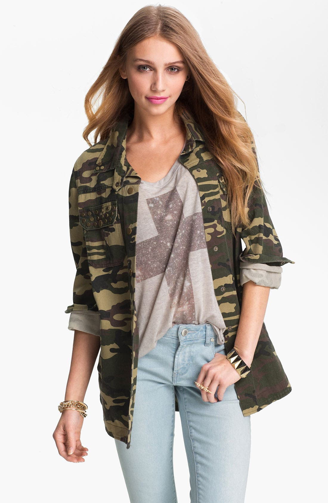 Alternate Image 1 Selected - Lush Studded Camo Print Army Jacket (Juniors)