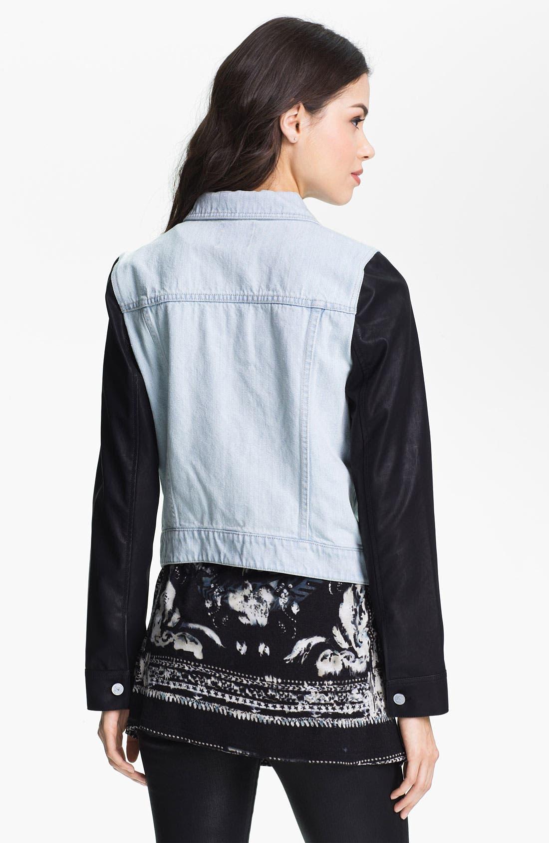 Alternate Image 2  - Trouvé Faux Leather & Denim Jacket