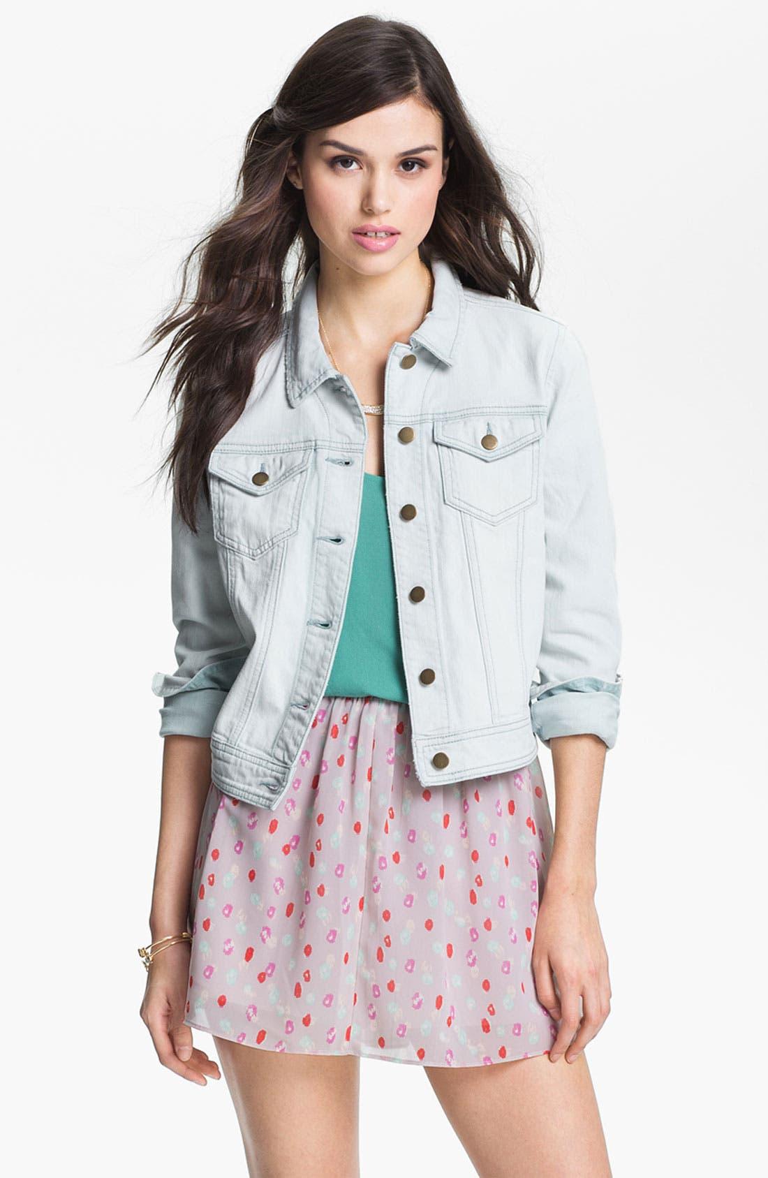 Alternate Image 1 Selected - Rubbish® Vintage Denim Jacket (Juniors)