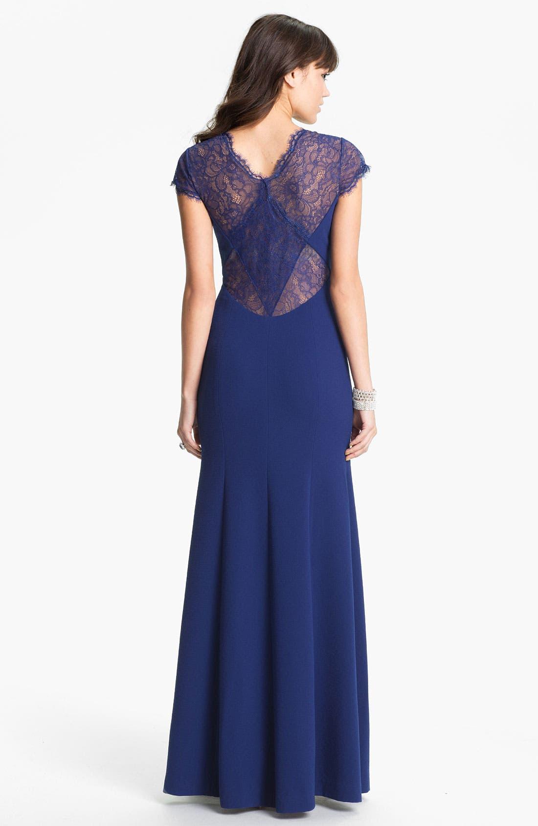 Alternate Image 2  - BCBGMAXAZRIA Lace Yoke Crepe Gown