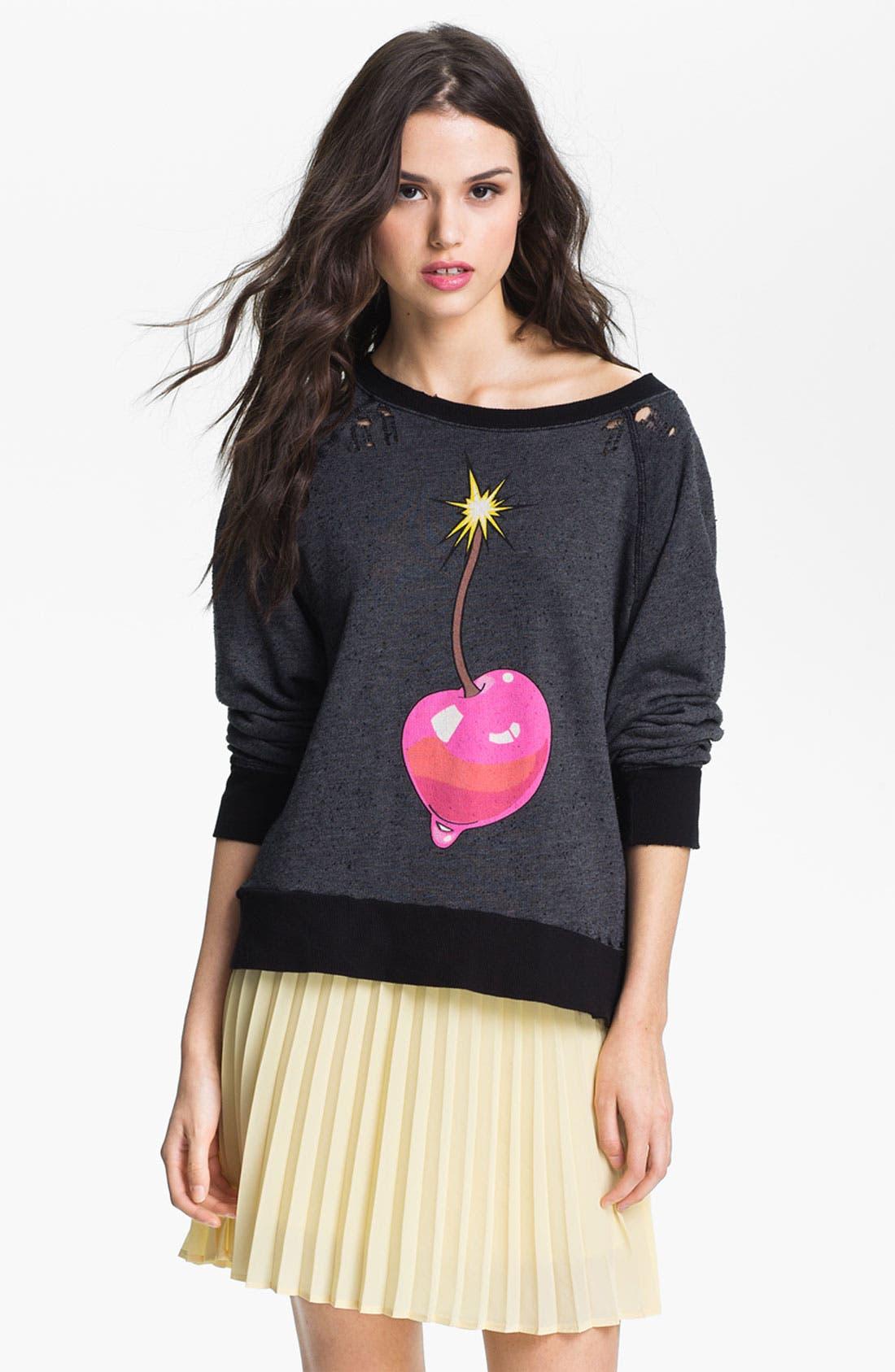 Main Image - Wildfox 'Cherry Bomb' Destroyed Sweatshirt (Nordstrom Exclusive)