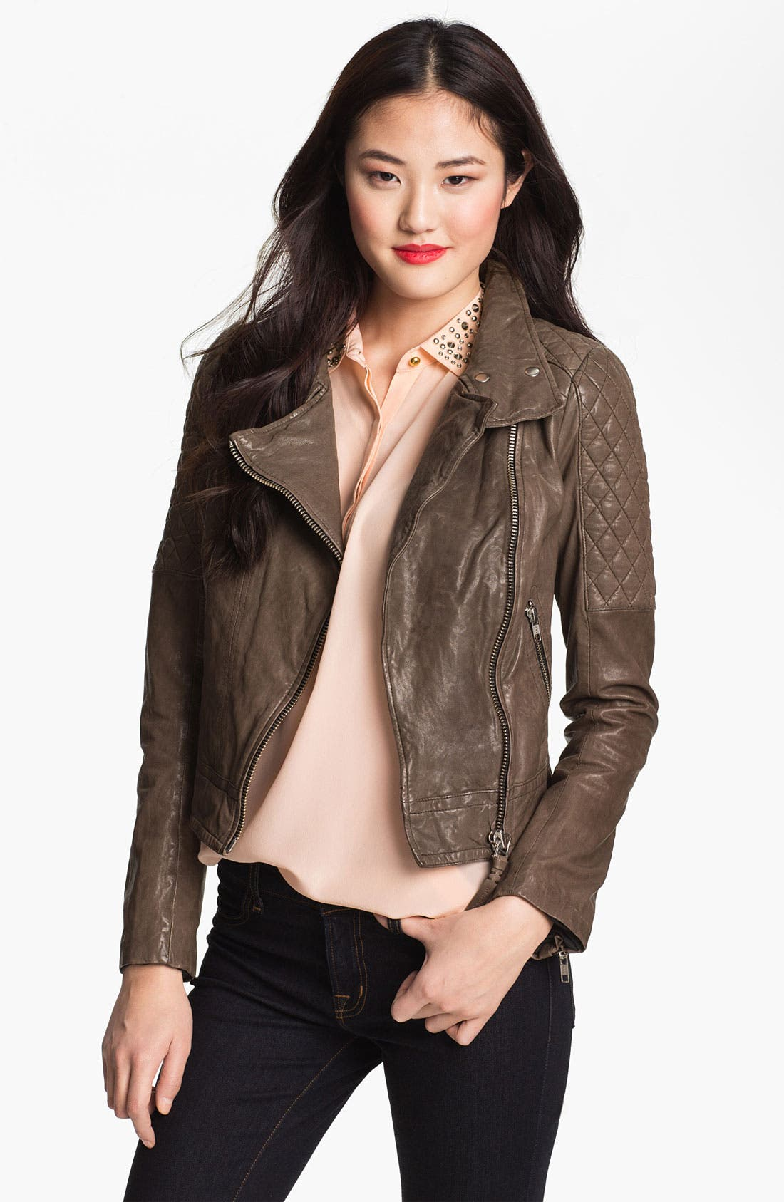 Alternate Image 1 Selected - Mackage Quilt Trim Leather Moto Jacket