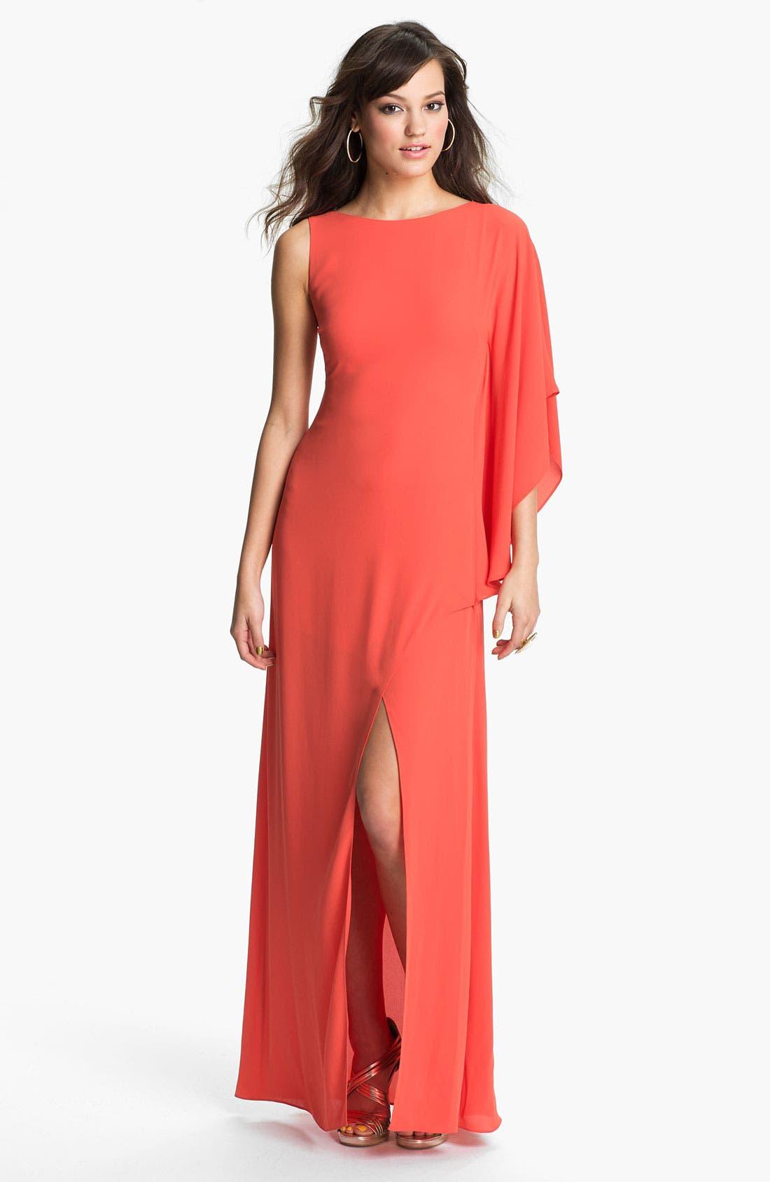 Alternate Image 1 Selected - BCBGMAXAZRIA Single Sleeve Chiffon Gown