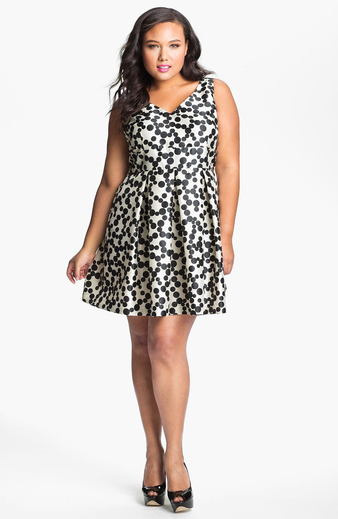 Main Image - Taylor Dresses Polka Dot Fit & Flare Dress (Plus Size)