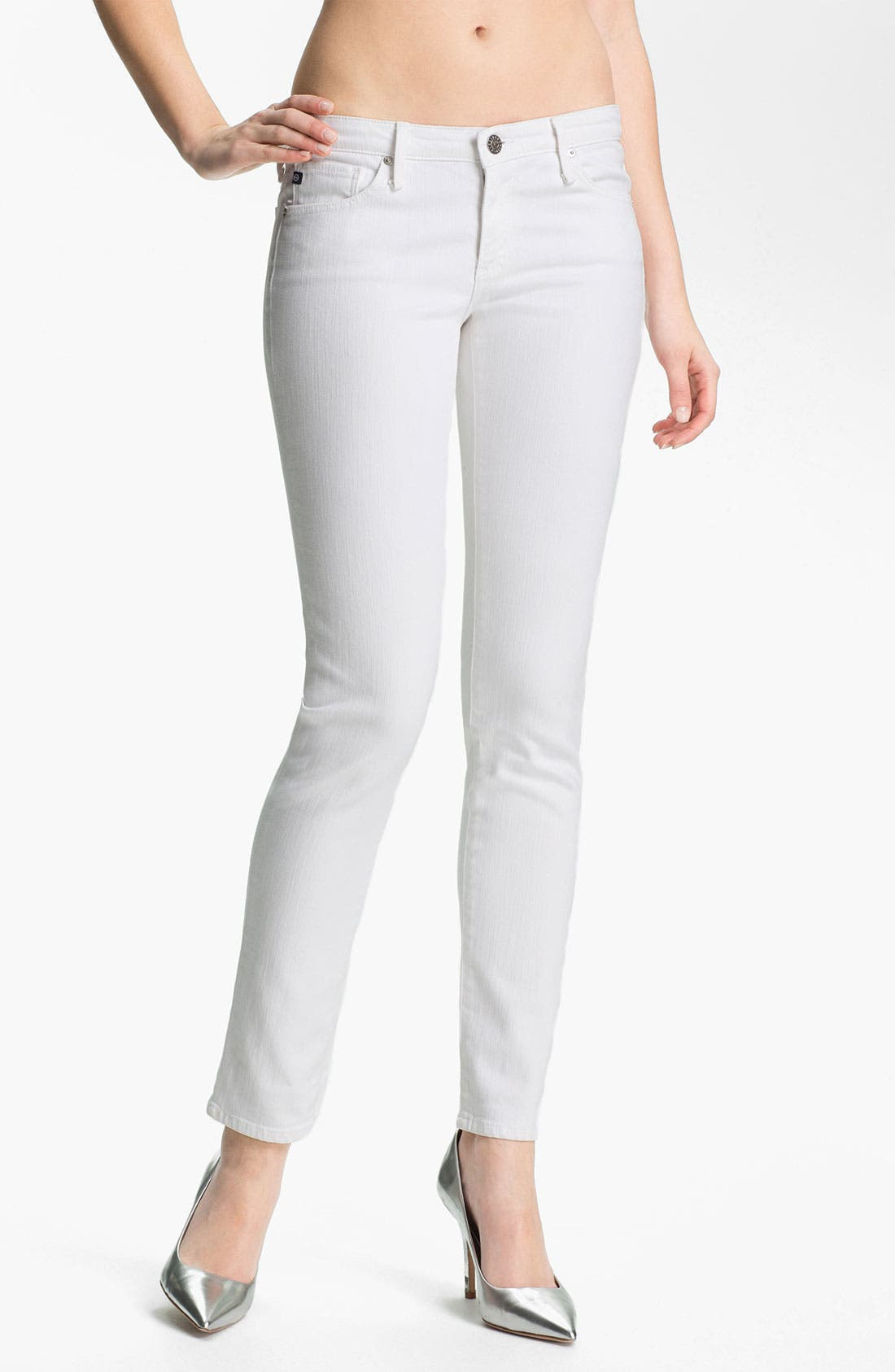 Main Image - AG Jeans 'Stilt' Cigarette Leg Stretch Jeans (White)