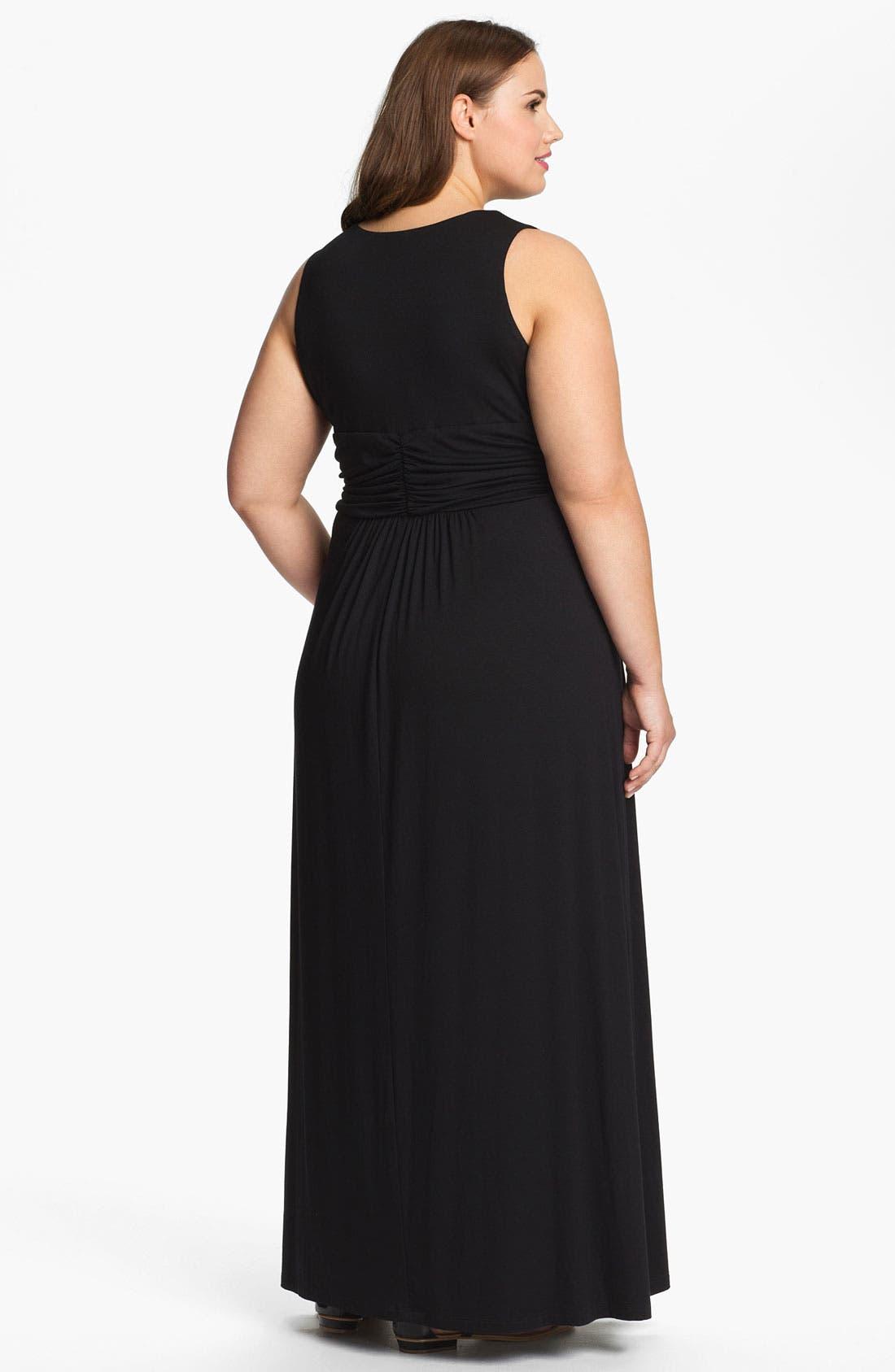 Alternate Image 2  - Karen Kane Front Twist Sleeveless Maxi Dress (Plus Size) (Online Only)