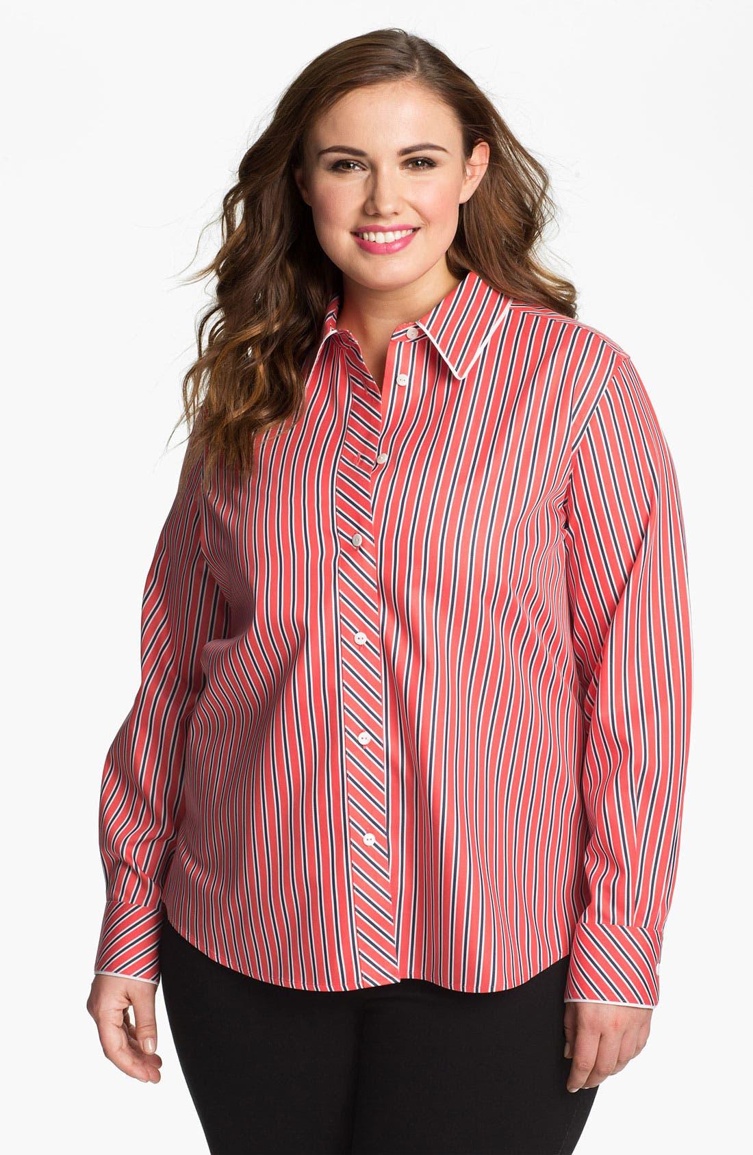 Alternate Image 1 Selected - Foxcroft 'Papaya' Stripe Shaped Cotton Shirt (Plus Size)