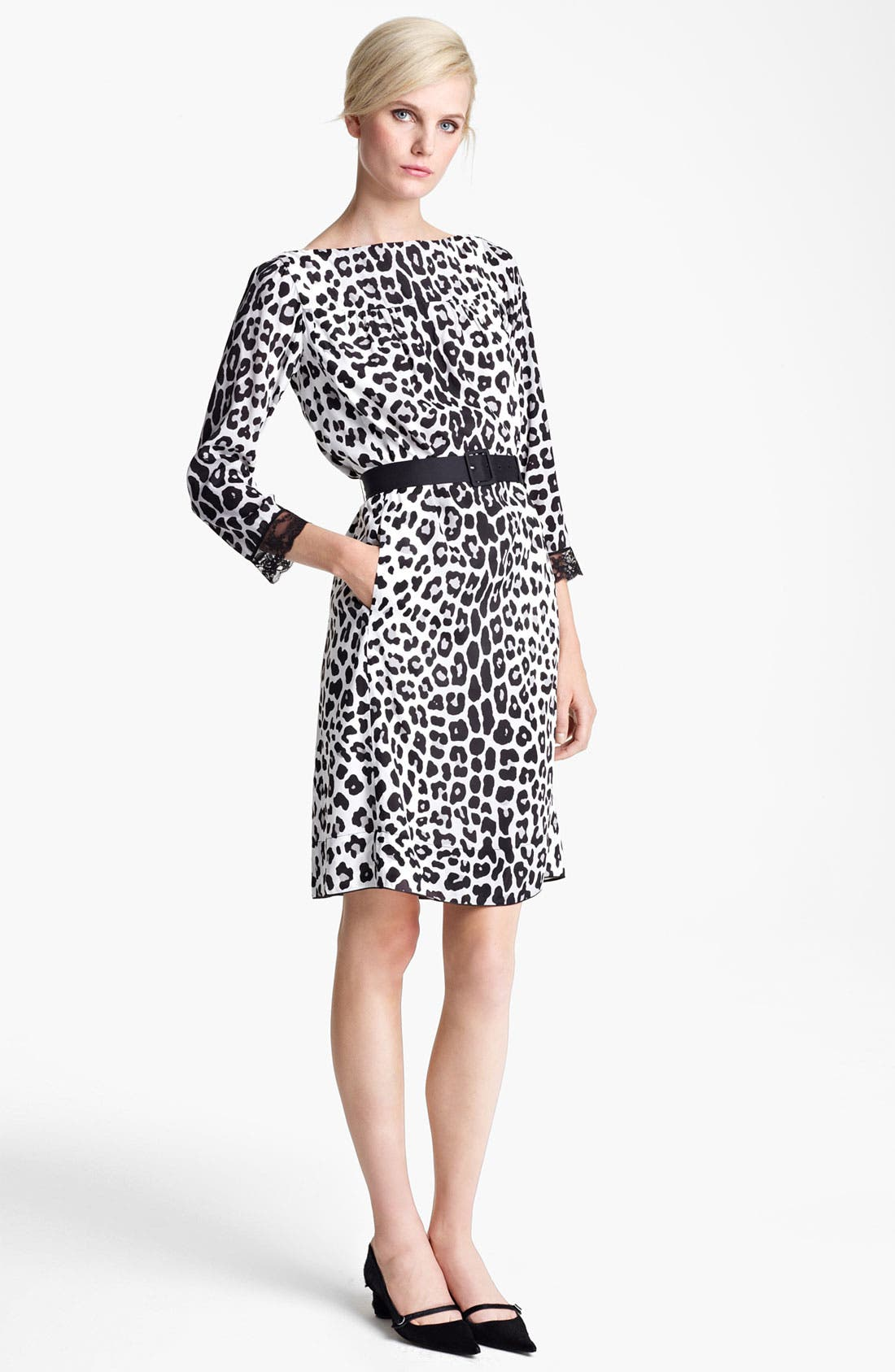 Main Image - MARC JACOBS Belted Leopard Print Techno Dress