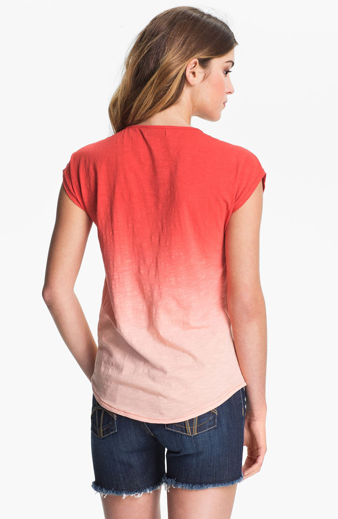 Alternate Image 2  - Lucky Brand Embroidered Dip Dye Tee