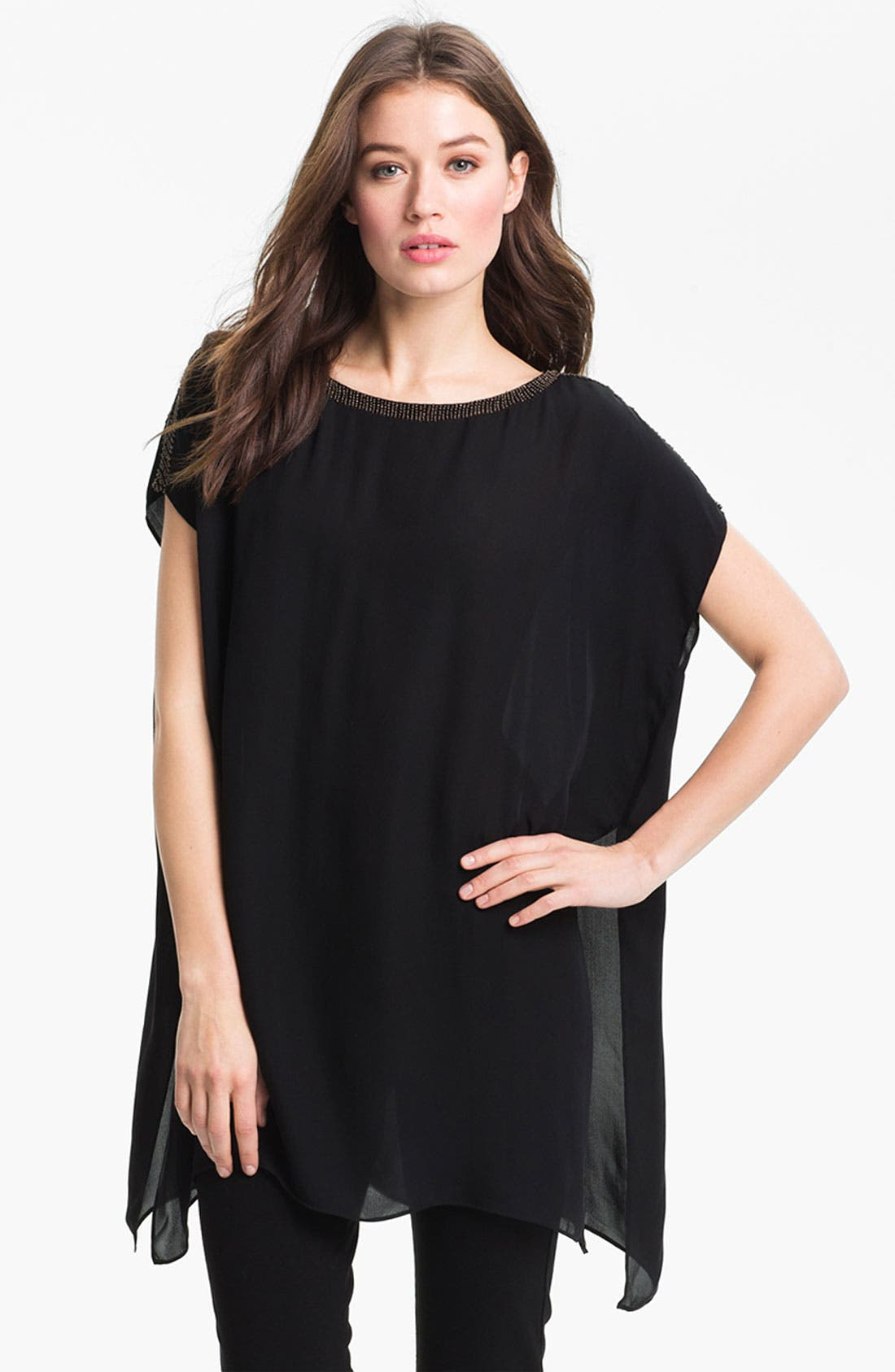 Alternate Image 1 Selected - Eileen Fisher Beaded Silk Georgette Tunic