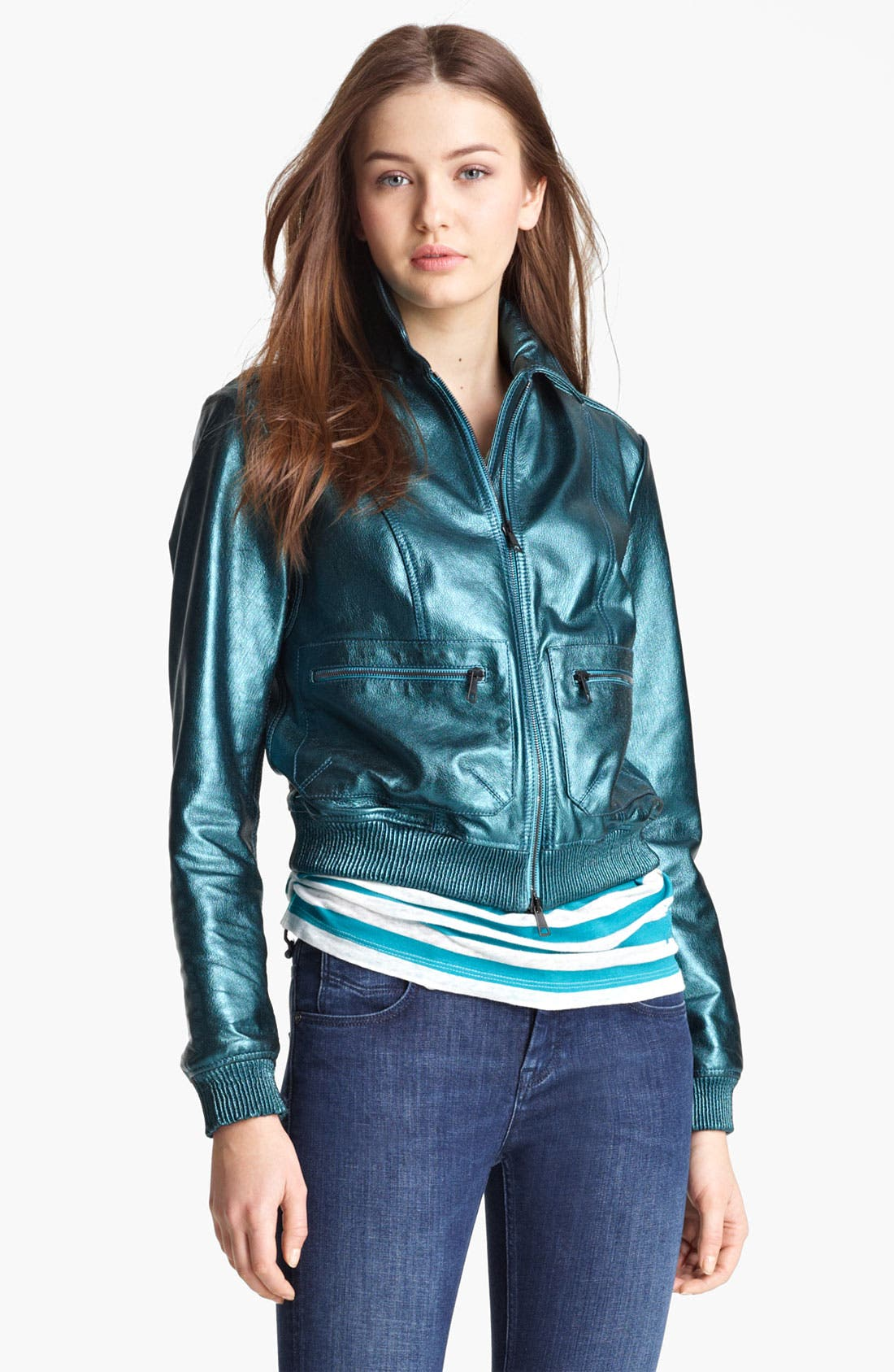 Alternate Image 1 Selected - Burberry Brit 'Stantonbury' Leather Jacket (Online Only)