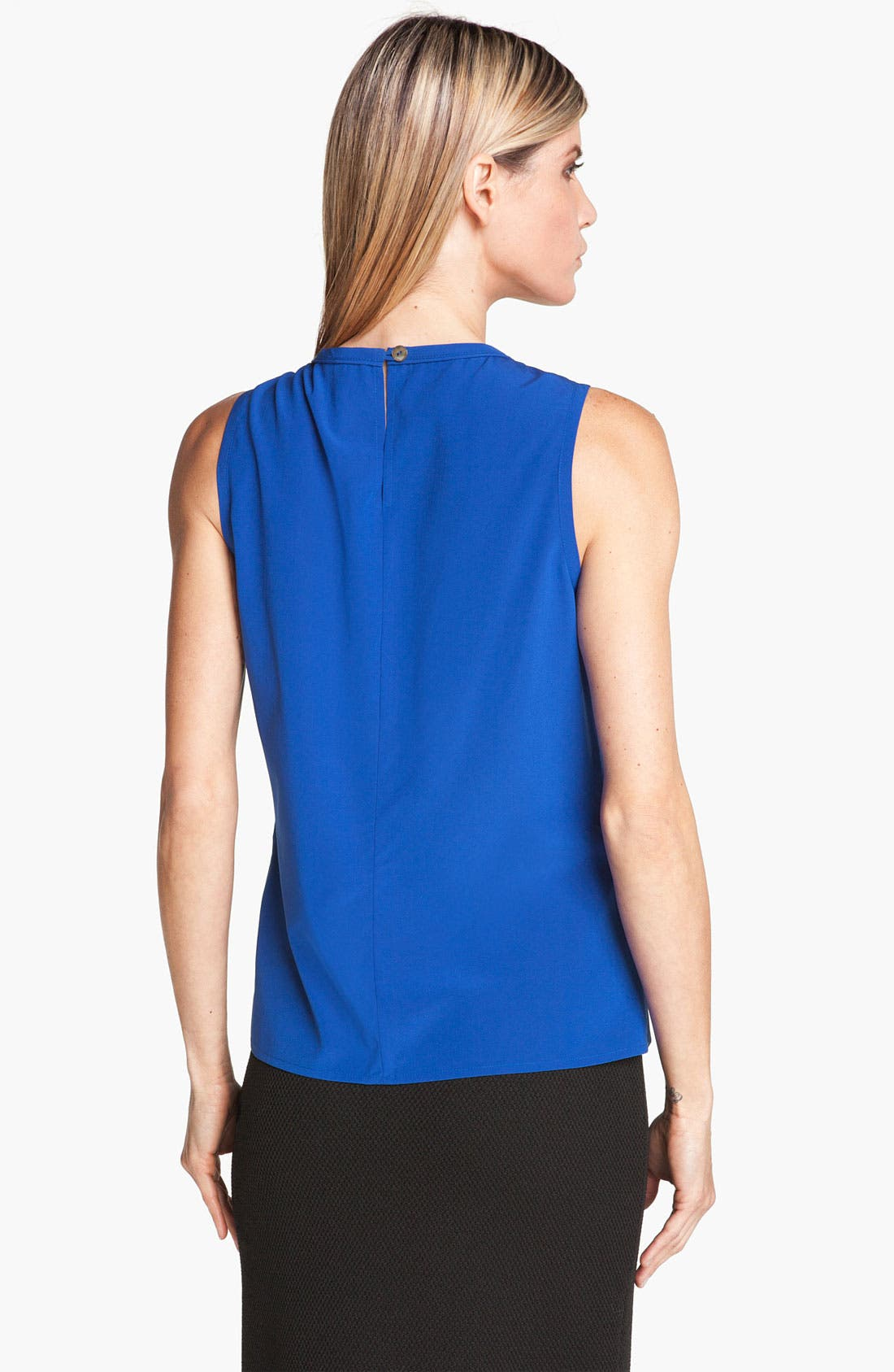 Alternate Image 2  - St. John Collection Pleated Neck Silk Top