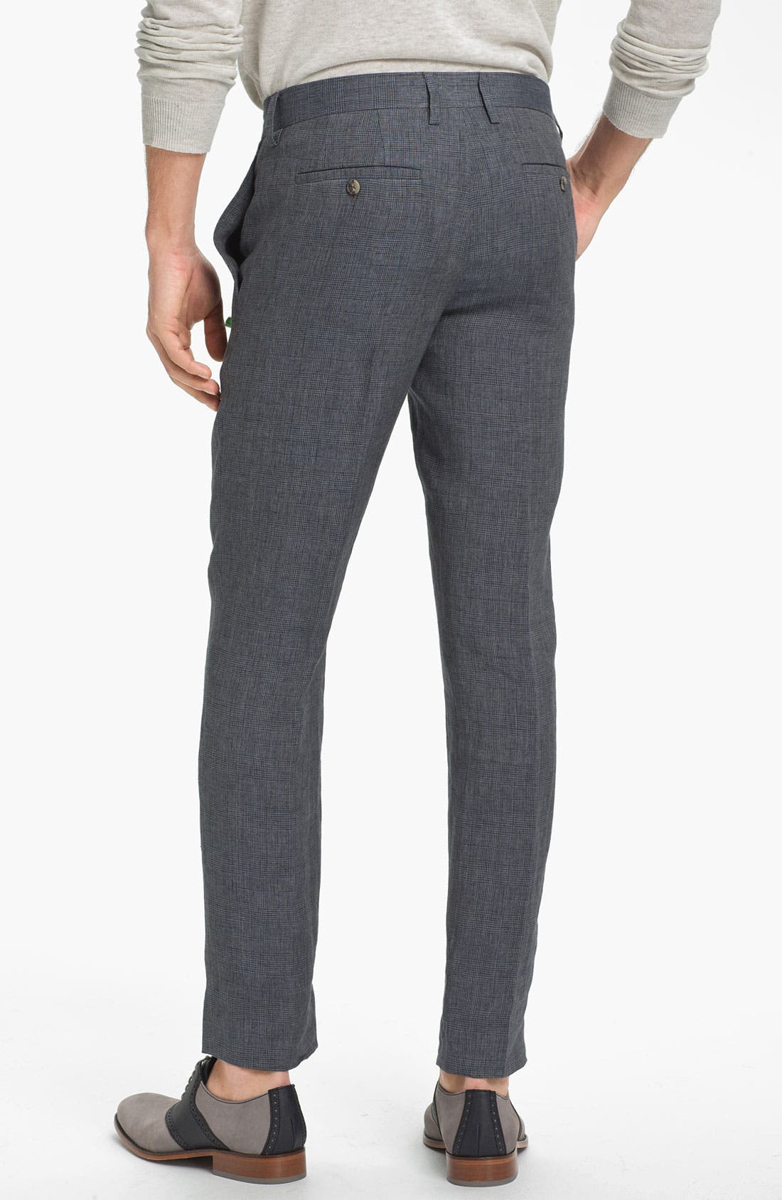 Alternate Image 2  - Vince Prince of Wales Flat Front Linen Trousers