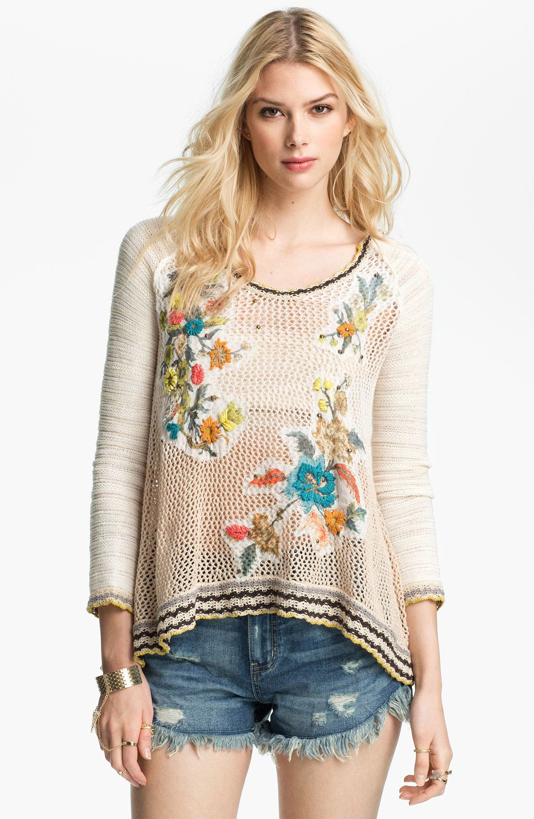 Main Image - Free People 'Menagerie' Embroidered Crochet Sweater
