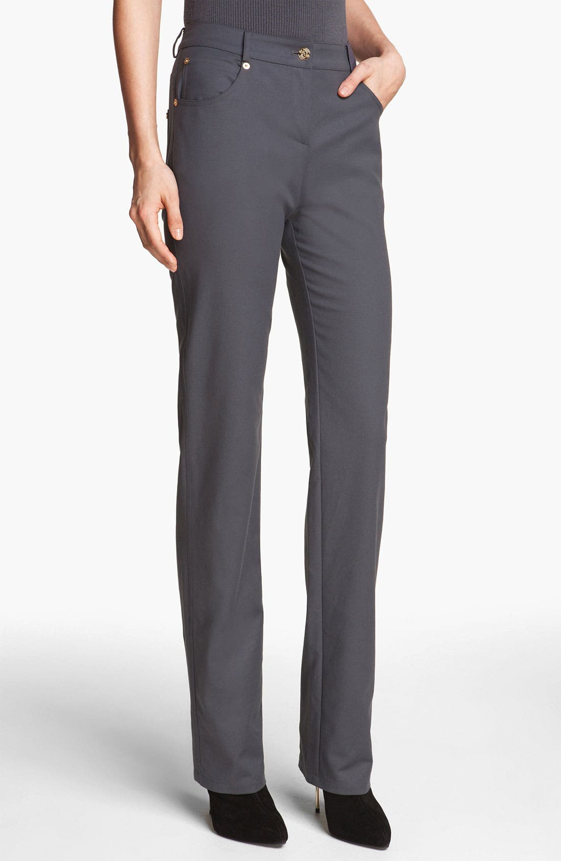 Main Image - St. John Yellow Label 'Marie' Double Weave Stretch Cotton Pants