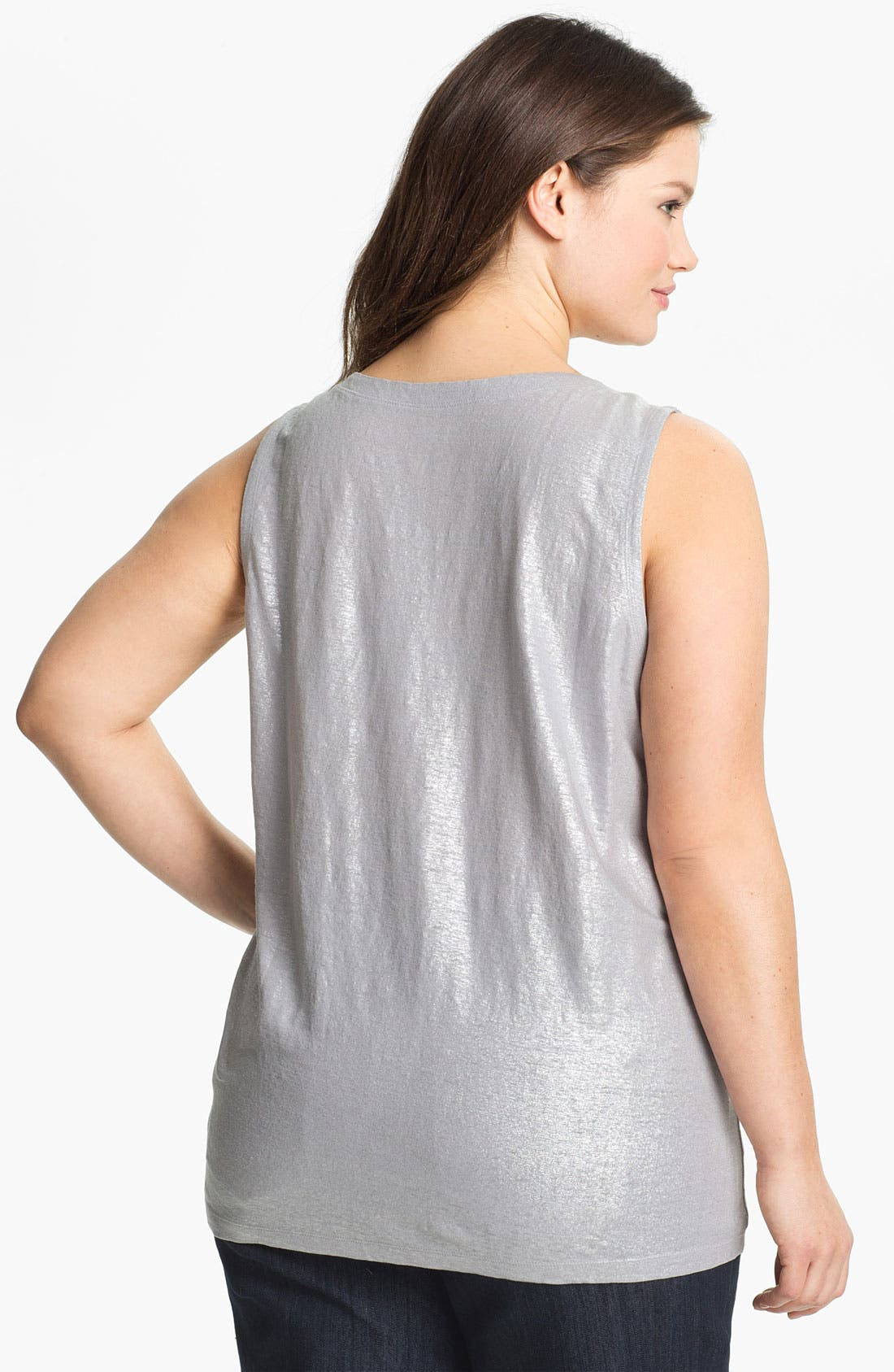 Alternate Image 2  - Eileen Fisher Metallic Linen Tank (Plus)