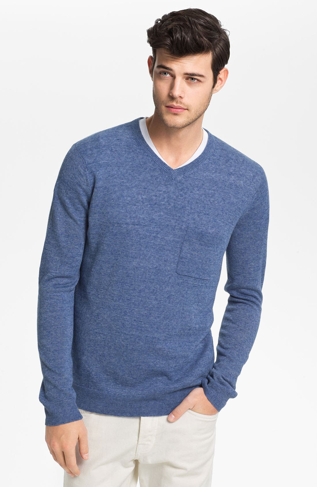 Alternate Image 1 Selected - Vince V-Neck Linen Blend Sweater