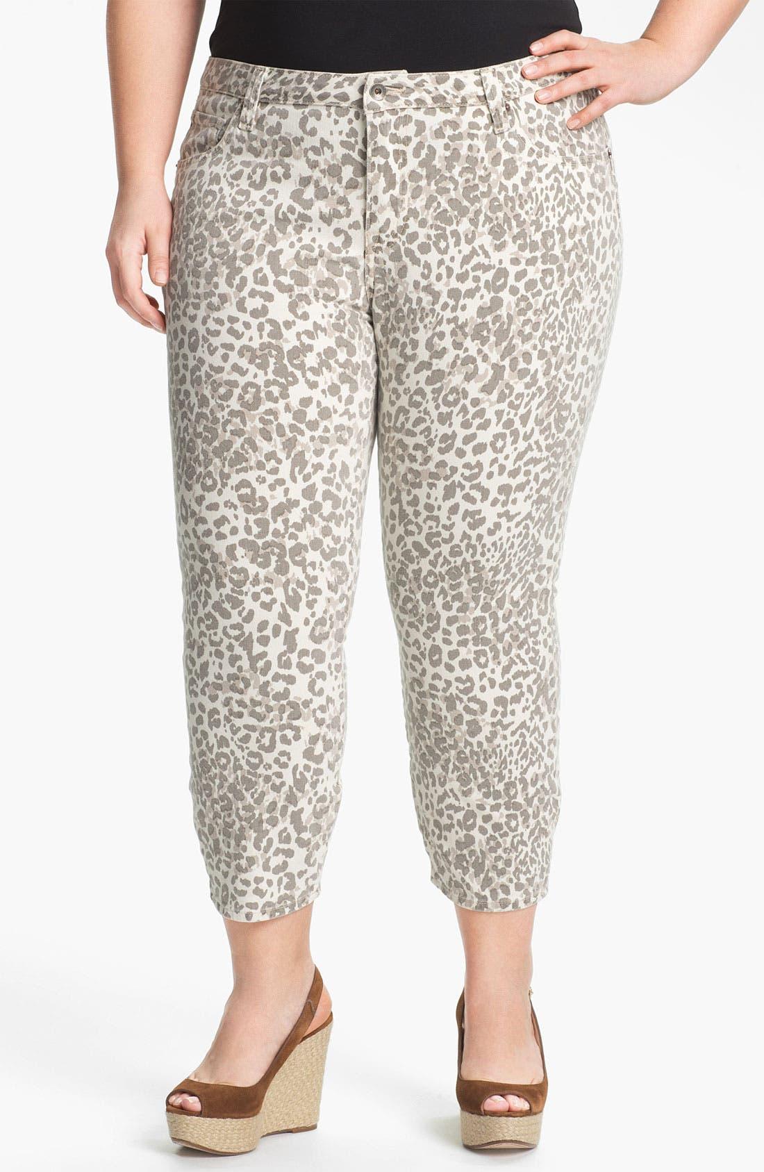 Main Image - Lucky Brand 'Ginger' Print Capri Jeans (Plus Size)