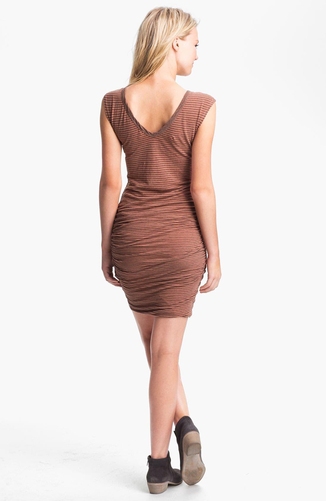 Alternate Image 2  - James Perse Stripe Ruched V-Neck Dress
