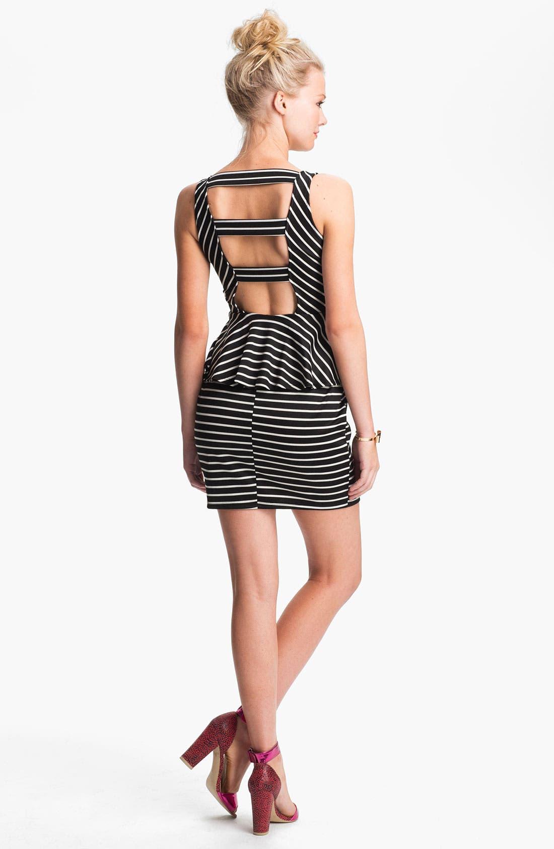Alternate Image 2  - Lush Cutout Striped Peplum Dress (Juniors)