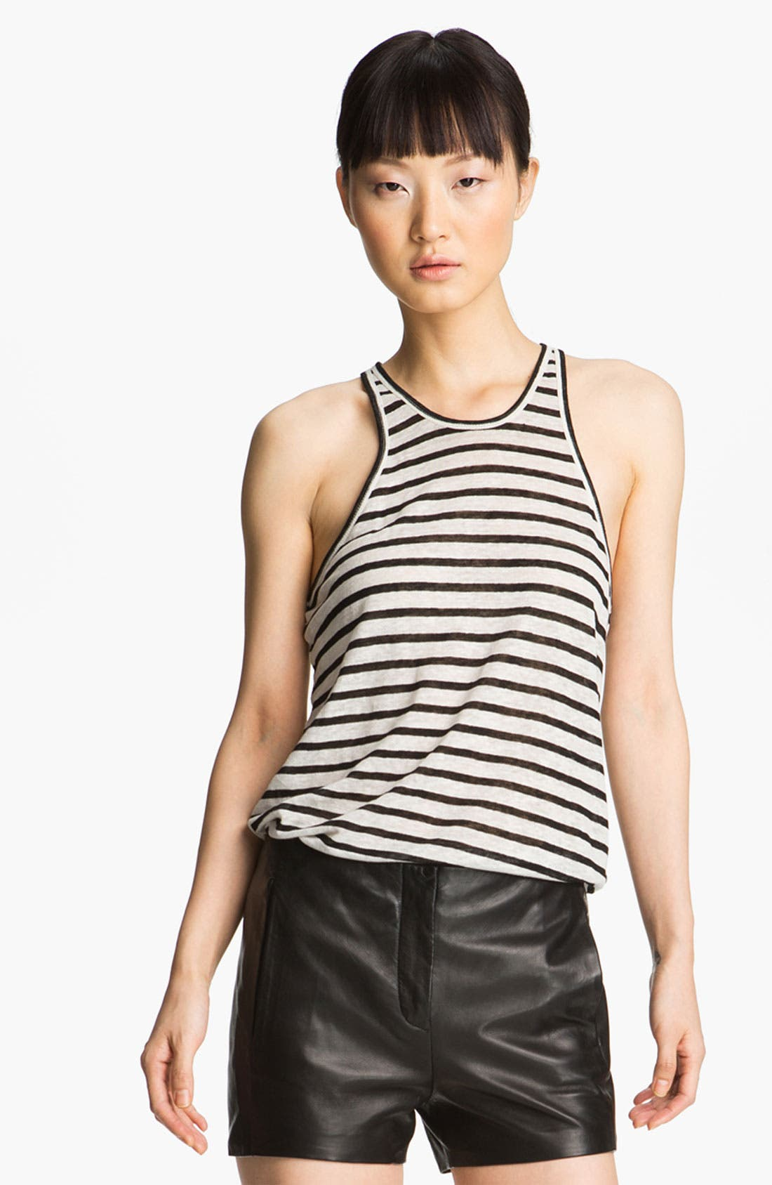 Alternate Image 1 Selected - T by Alexander Wang Stripe Linen Tank