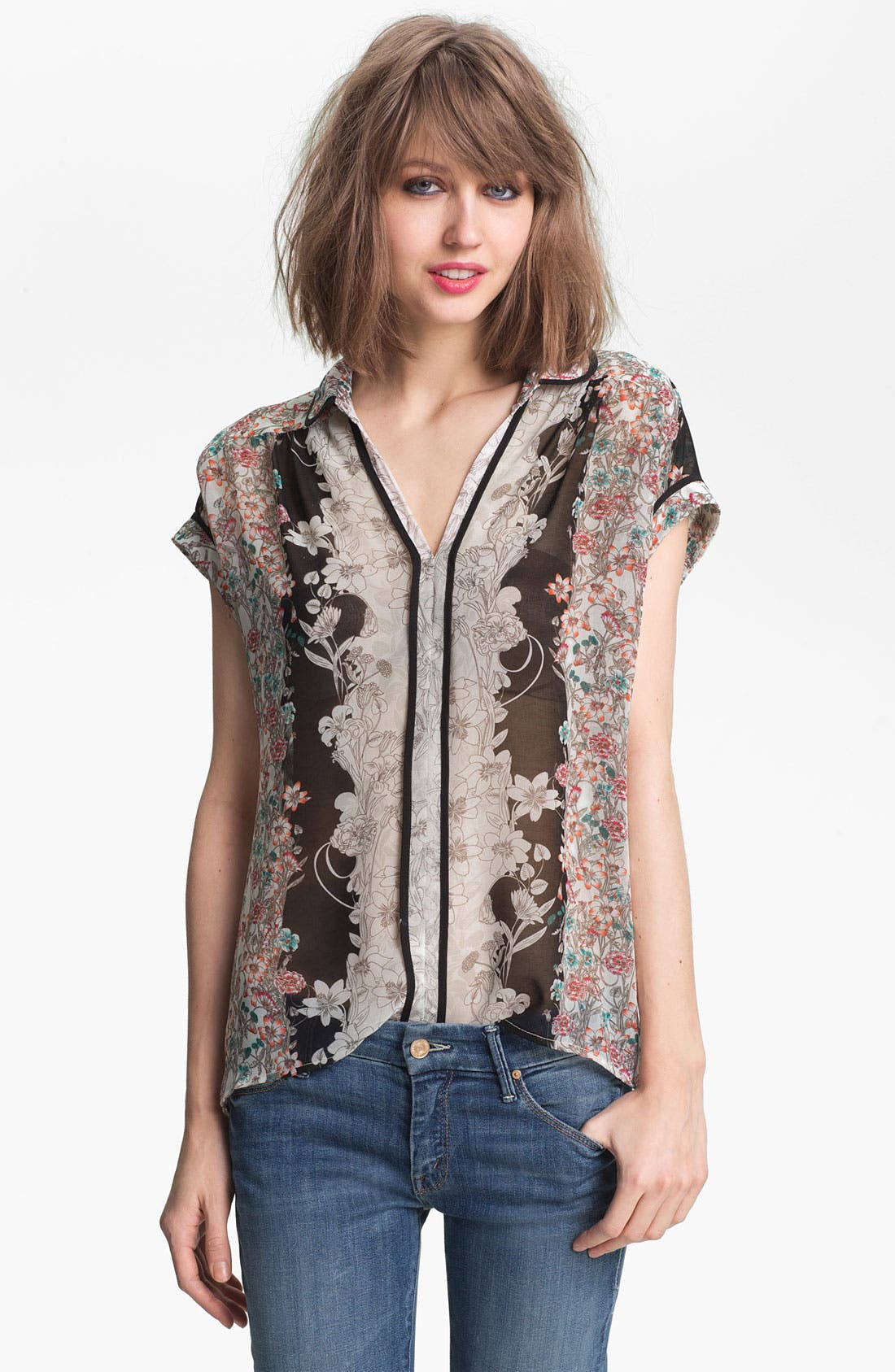 Main Image - Ace Delivery Floral Print Collar Top