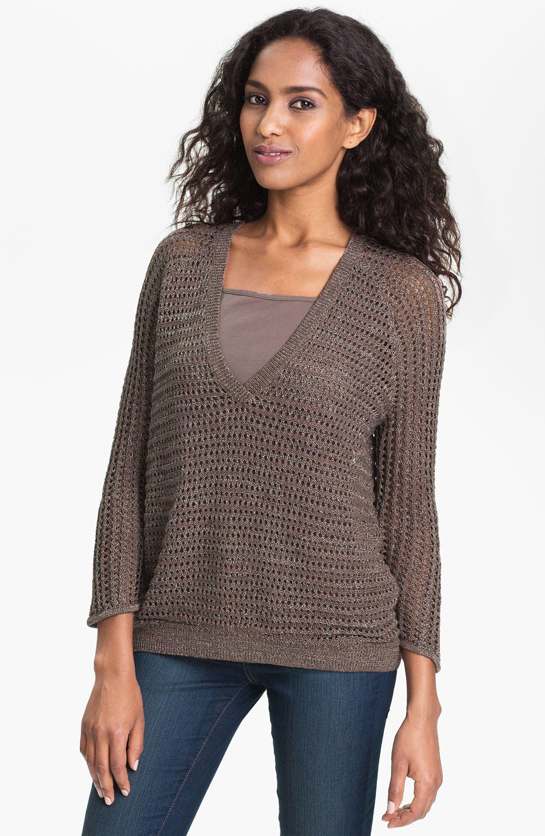 Alternate Image 1 Selected - Amber Sun Open Stitch V-Neck Sweater