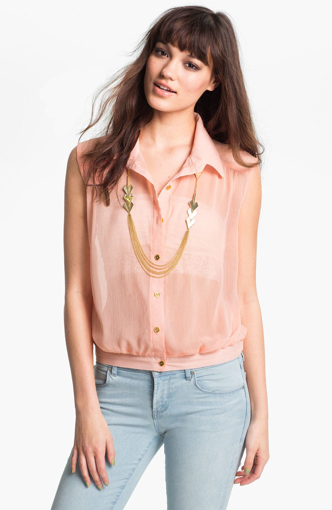 Alternate Image 1 Selected - Living Doll Chiffon Blouson Shirt (Juniors)