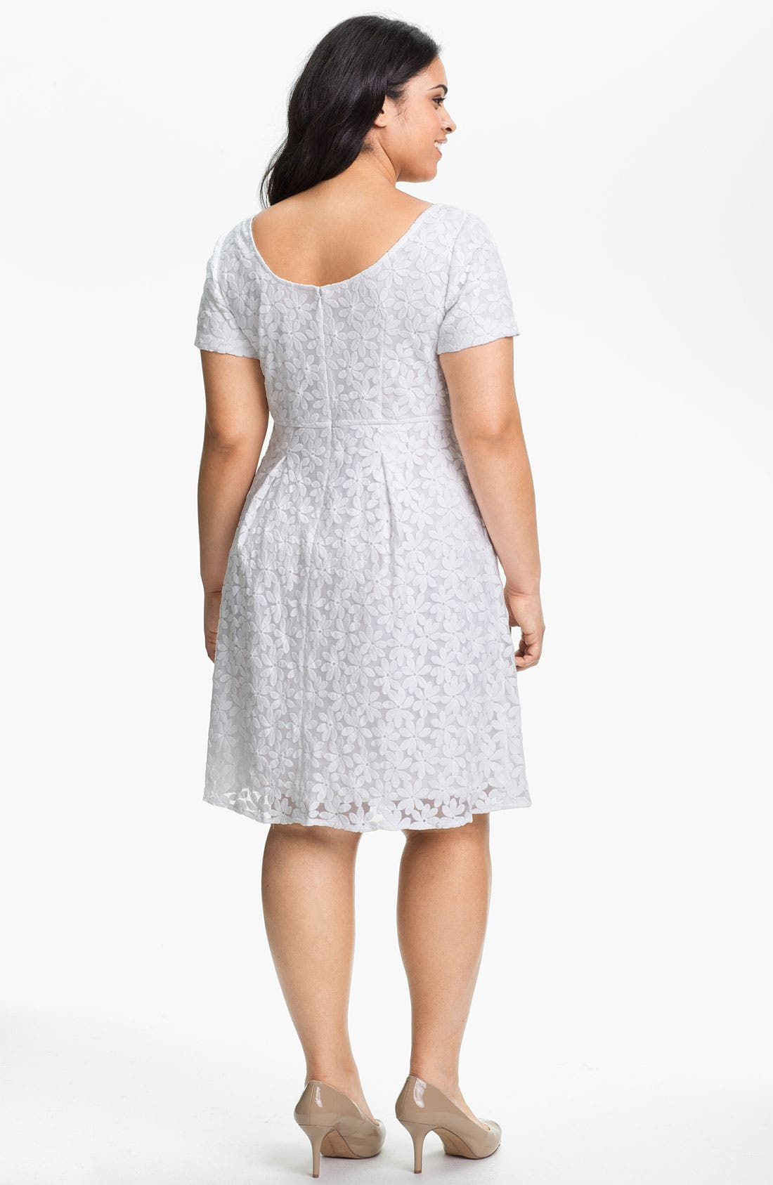 Alternate Image 2  - Adrianna Papell Embroidered Tulle Dress (Plus Size) (Online Only)