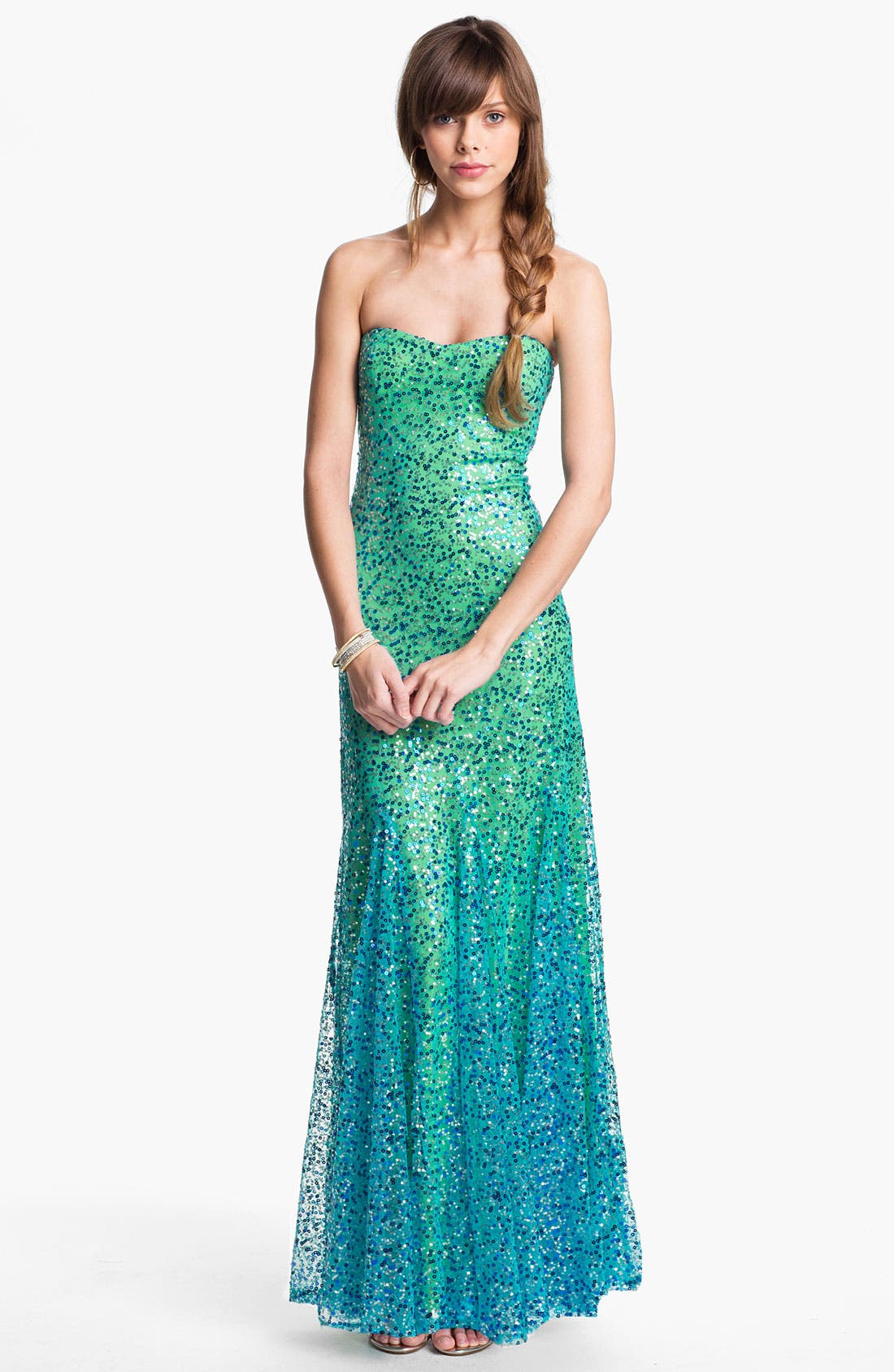 Alternate Image 1 Selected - As U Wish Strapless Sequin Ombré Mermaid Gown (Juniors)