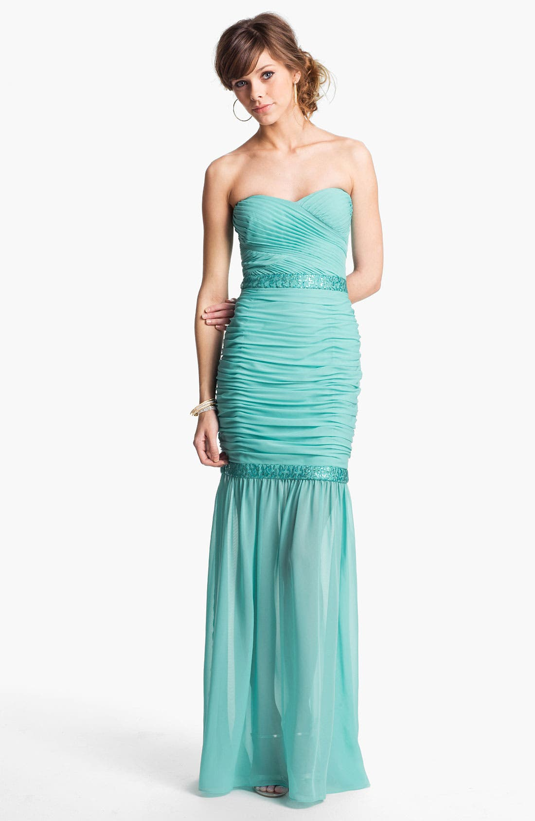 Main Image - Hailey by Adrianna Papell Embellished Chiffon Mermaid Dress (Online Only)