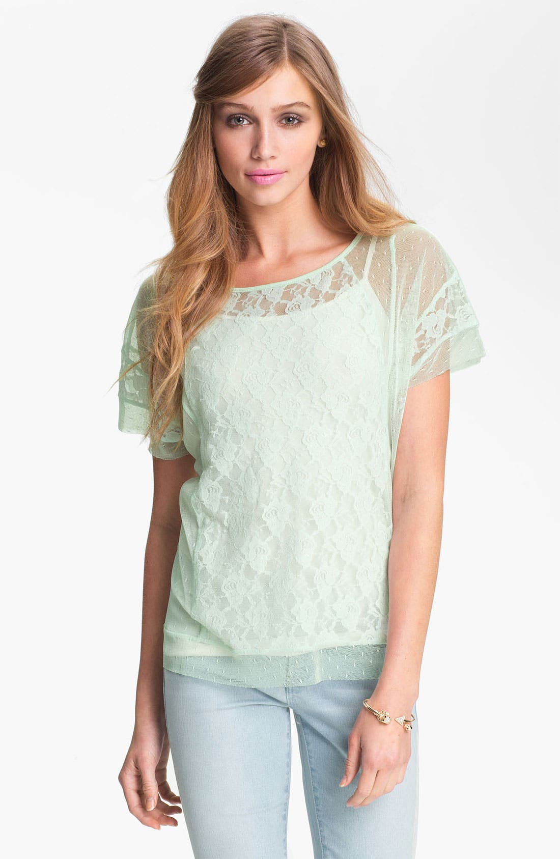 Main Image - Frenchi® Lace Tee (Juniors)