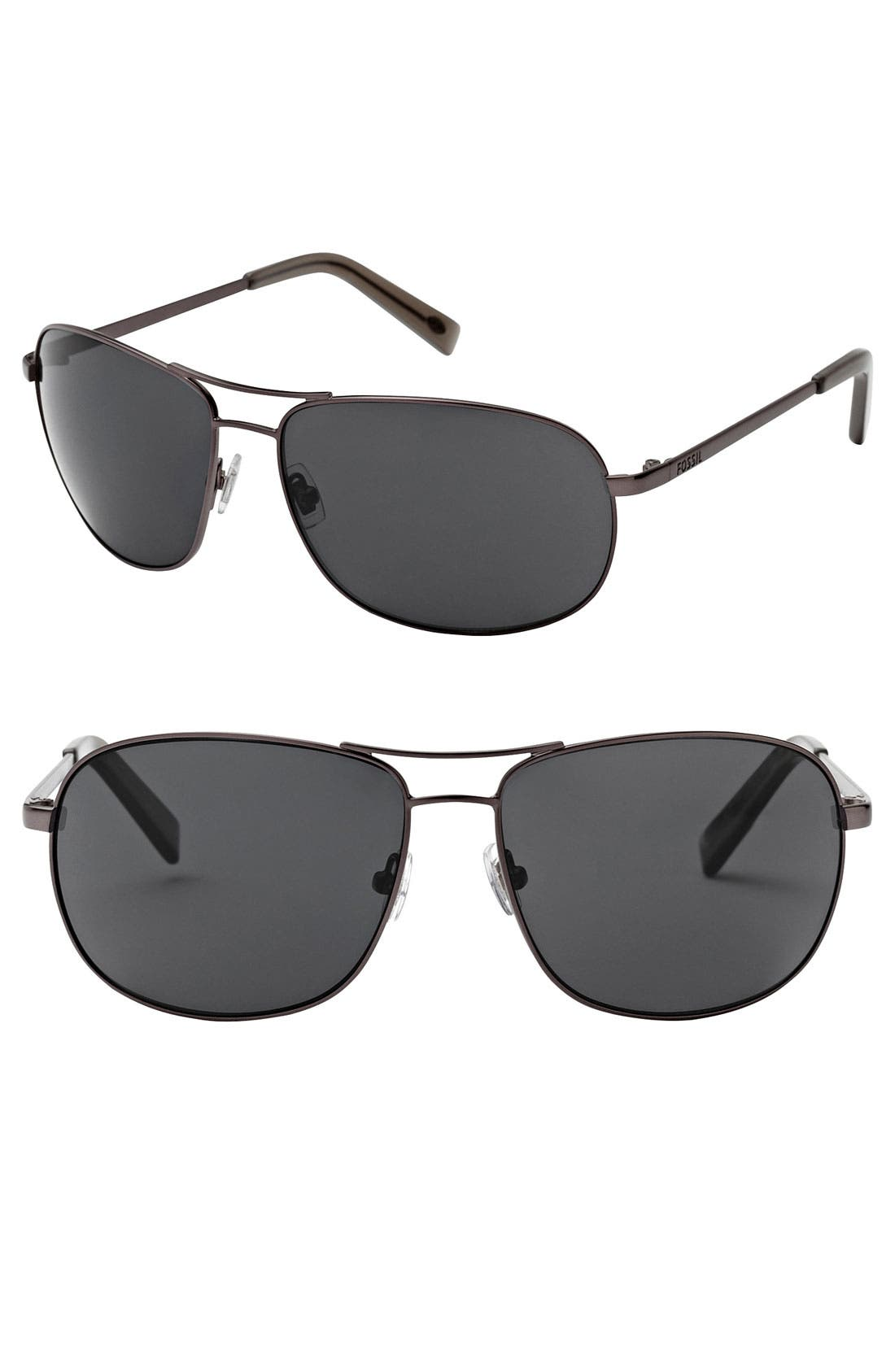 Alternate Image 1 Selected - Fossil 'Dylan' 62mm Aviator Sunglasses